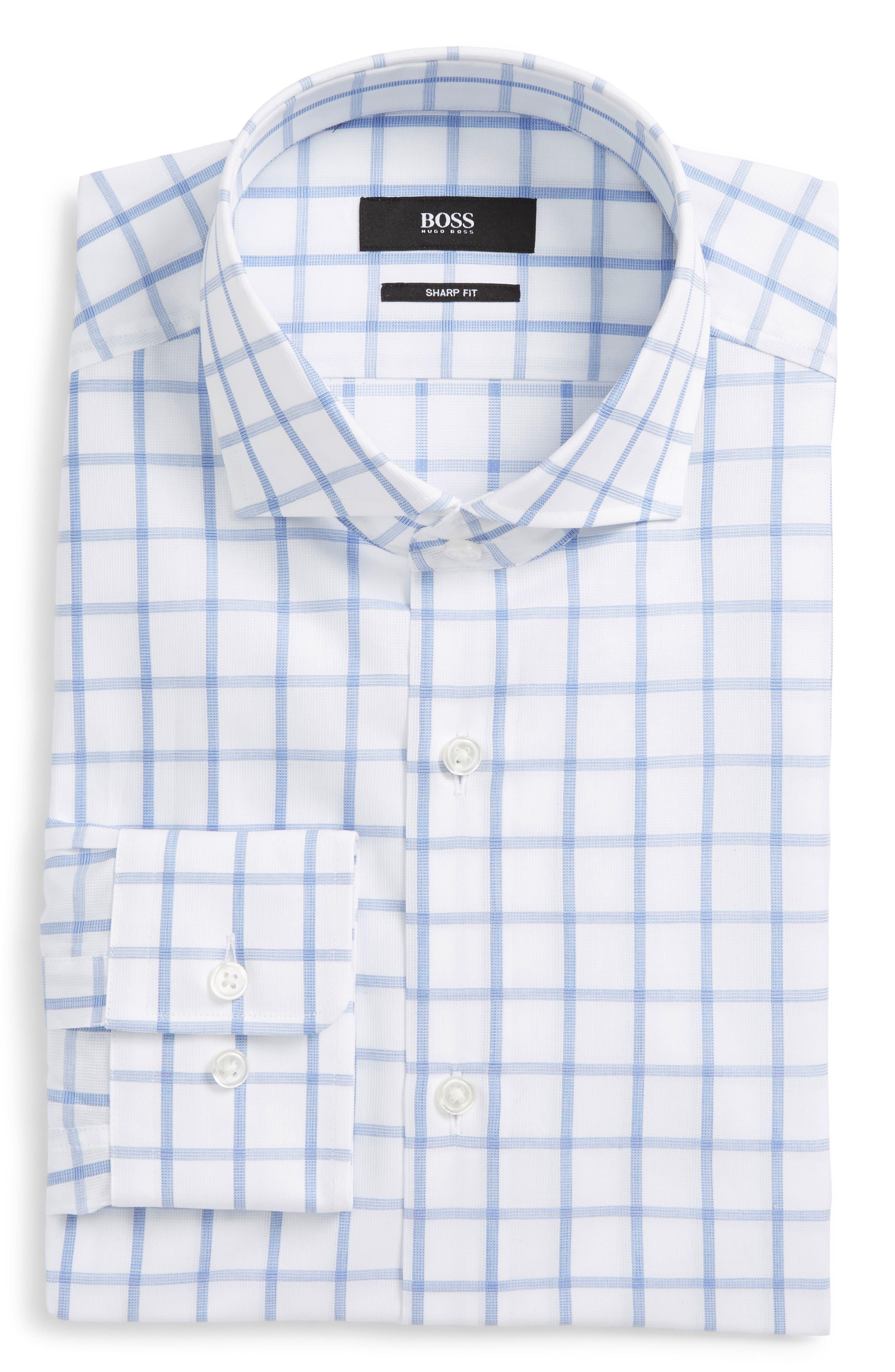 BOSS Mark Sharp Fit Grid Dress Shirt