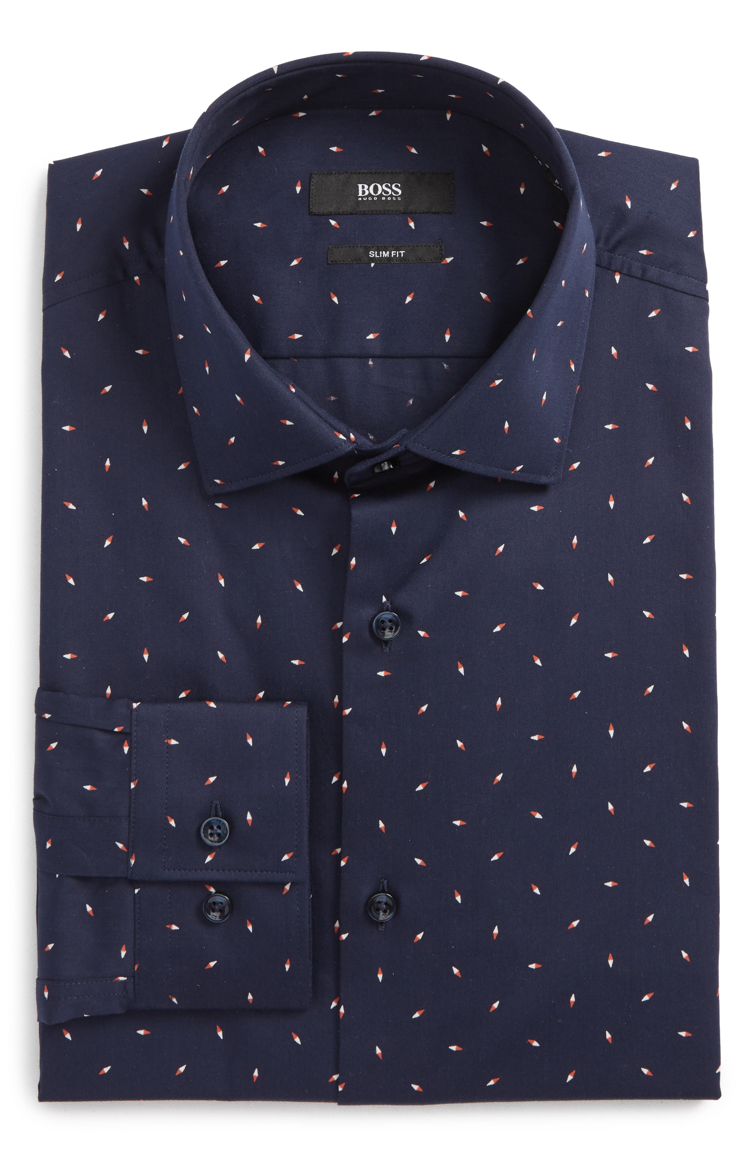 Ismo Slim Fit Print Dress Shirt,                             Alternate thumbnail 6, color,                             Navy