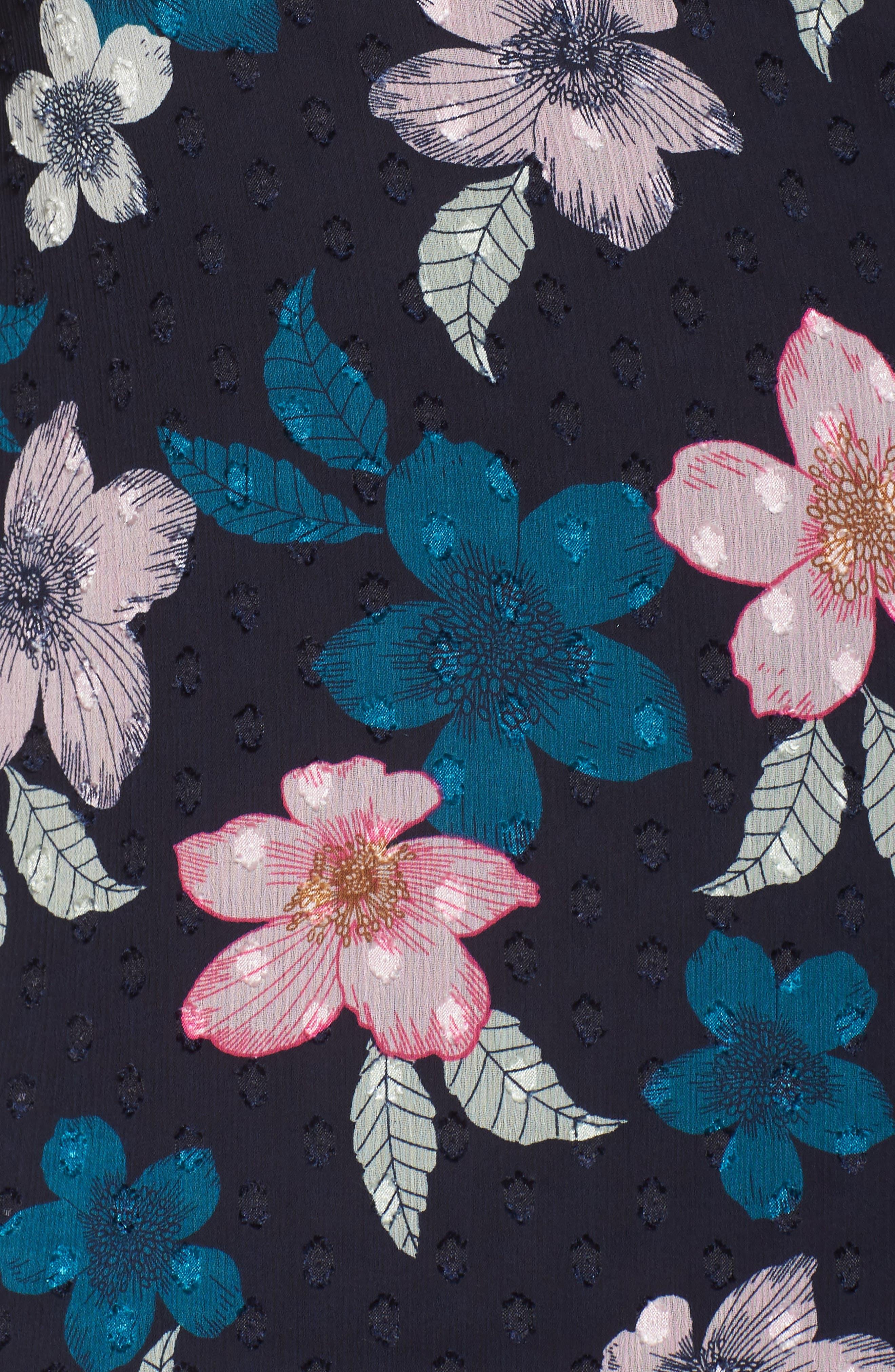 Flounce Bell Sleeve Floral Fil Coupé Chiffon Shift Dress,                             Alternate thumbnail 6, color,                             Navy