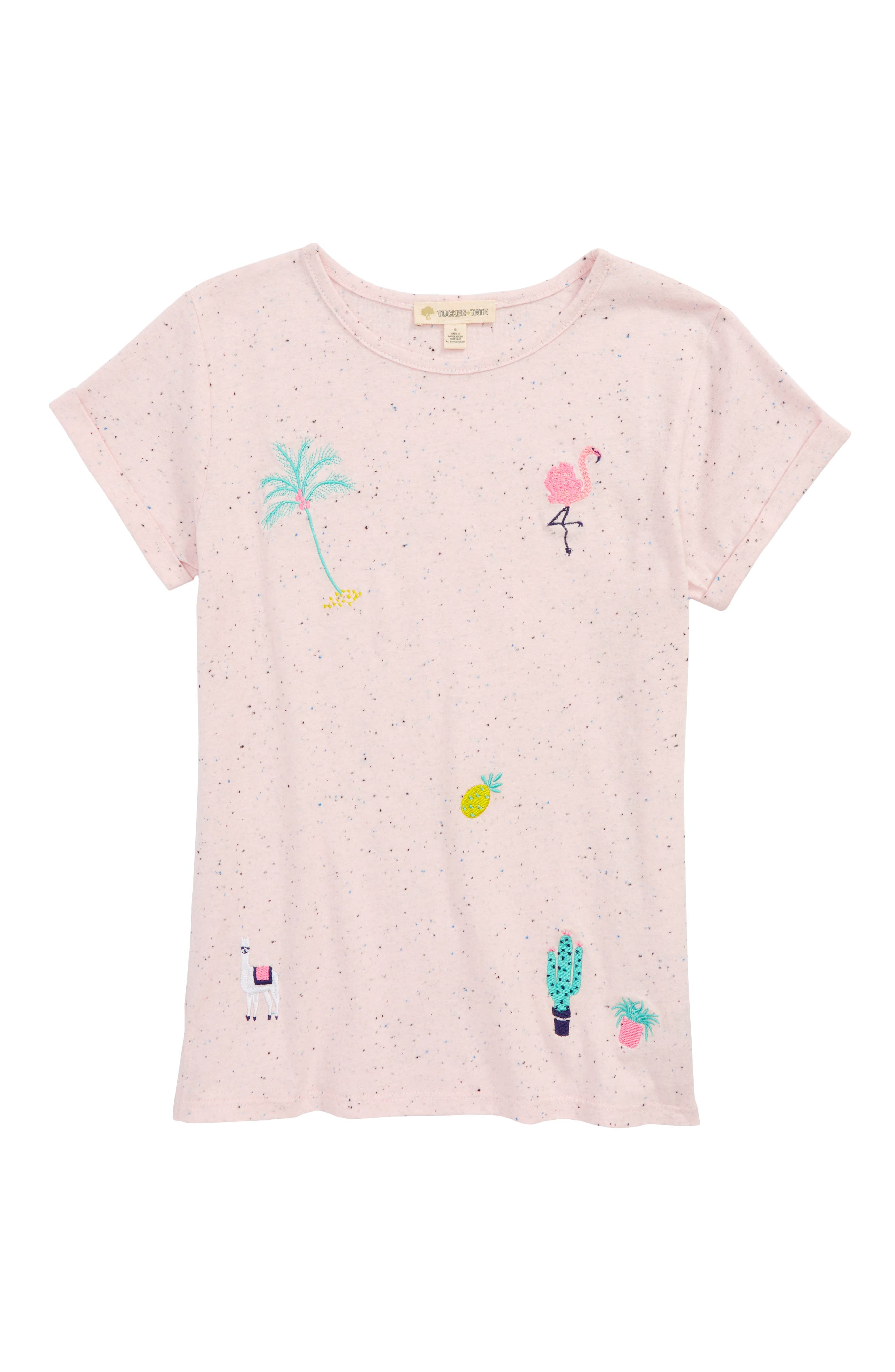 Embroidered Tee,                             Main thumbnail 1, color,                             Pink Breath Tropical