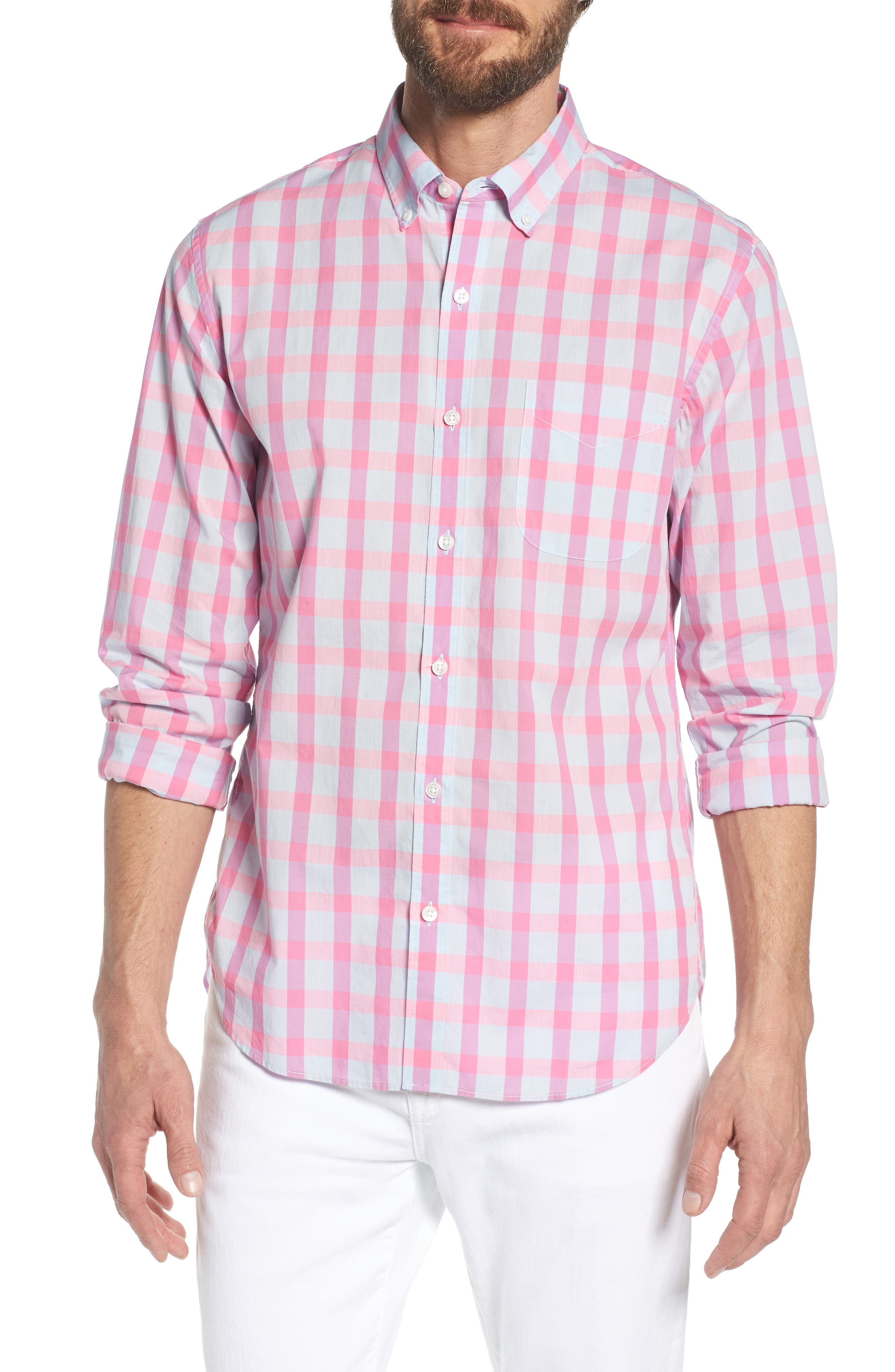 Summerweight Slim Fit Check Sport Shirt,                         Main,                         color, Harris Check - Pink Rocket