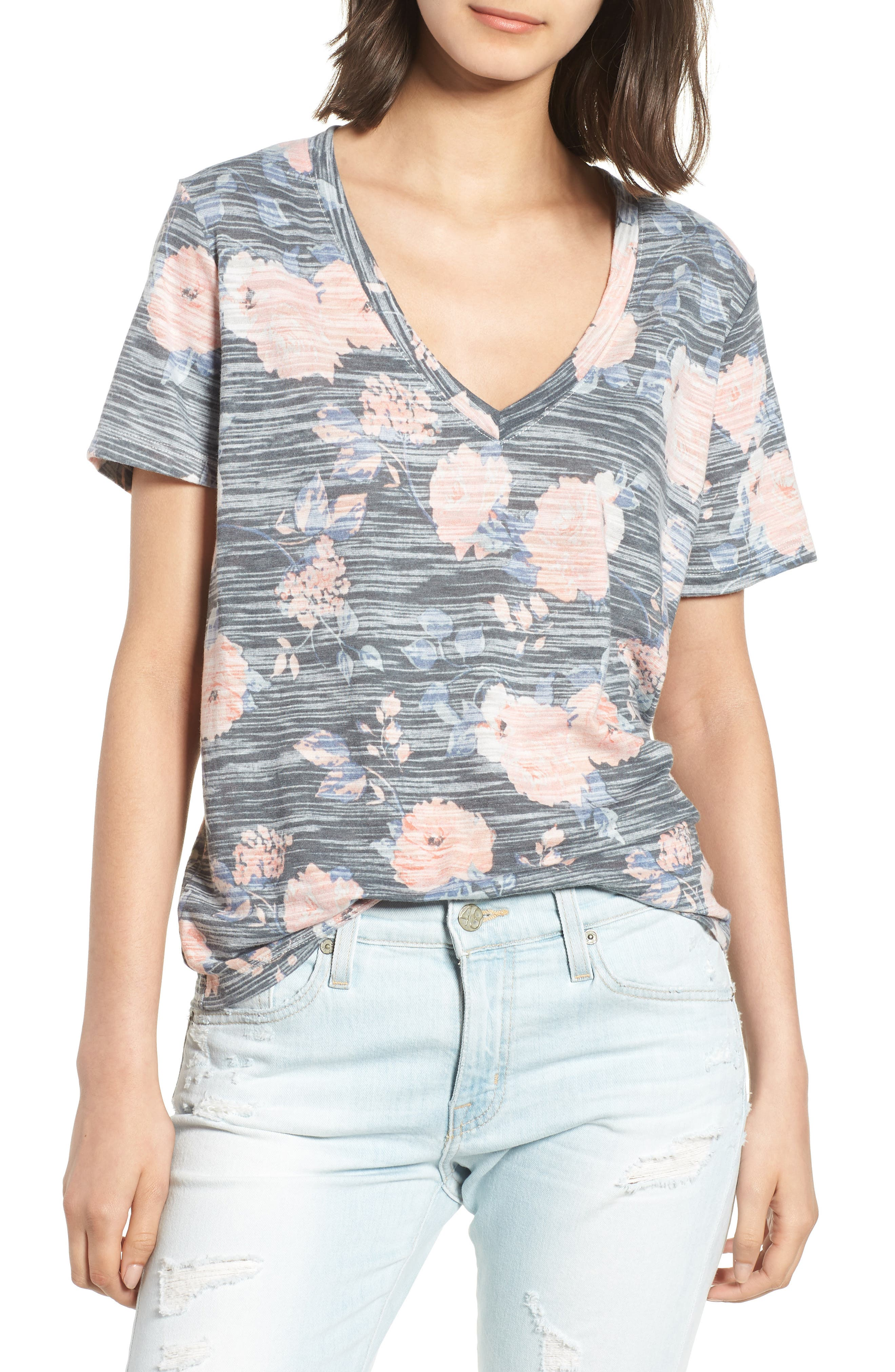 Floral Tee,                             Main thumbnail 1, color,                             Rose Floral