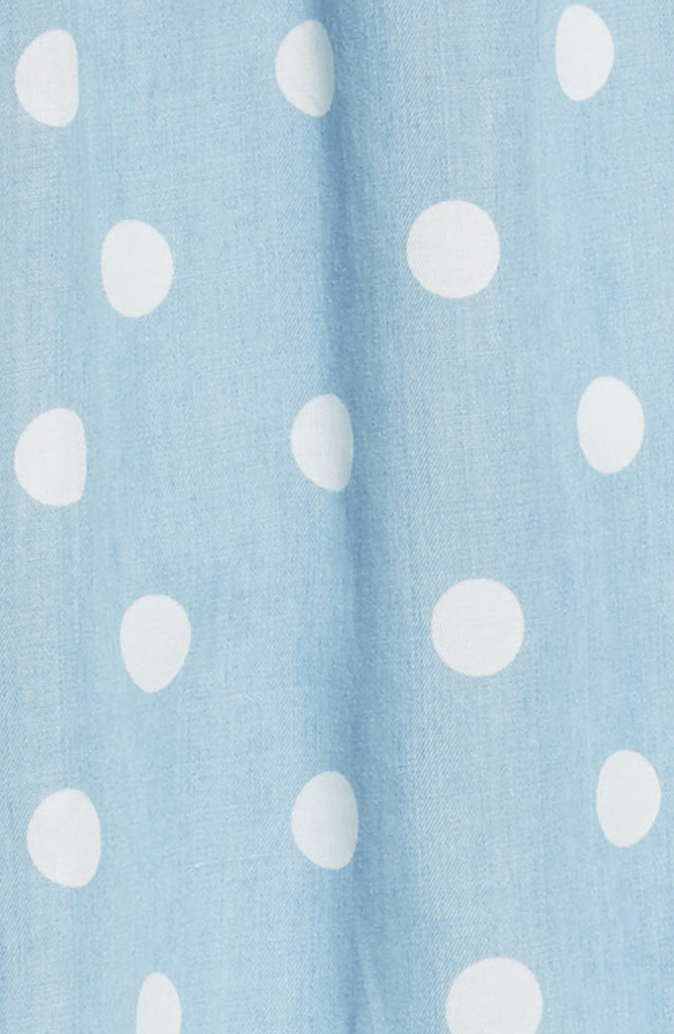 Polka Dot Ruffle Dress,                             Alternate thumbnail 3, color,                             Blue Wash Dot Print