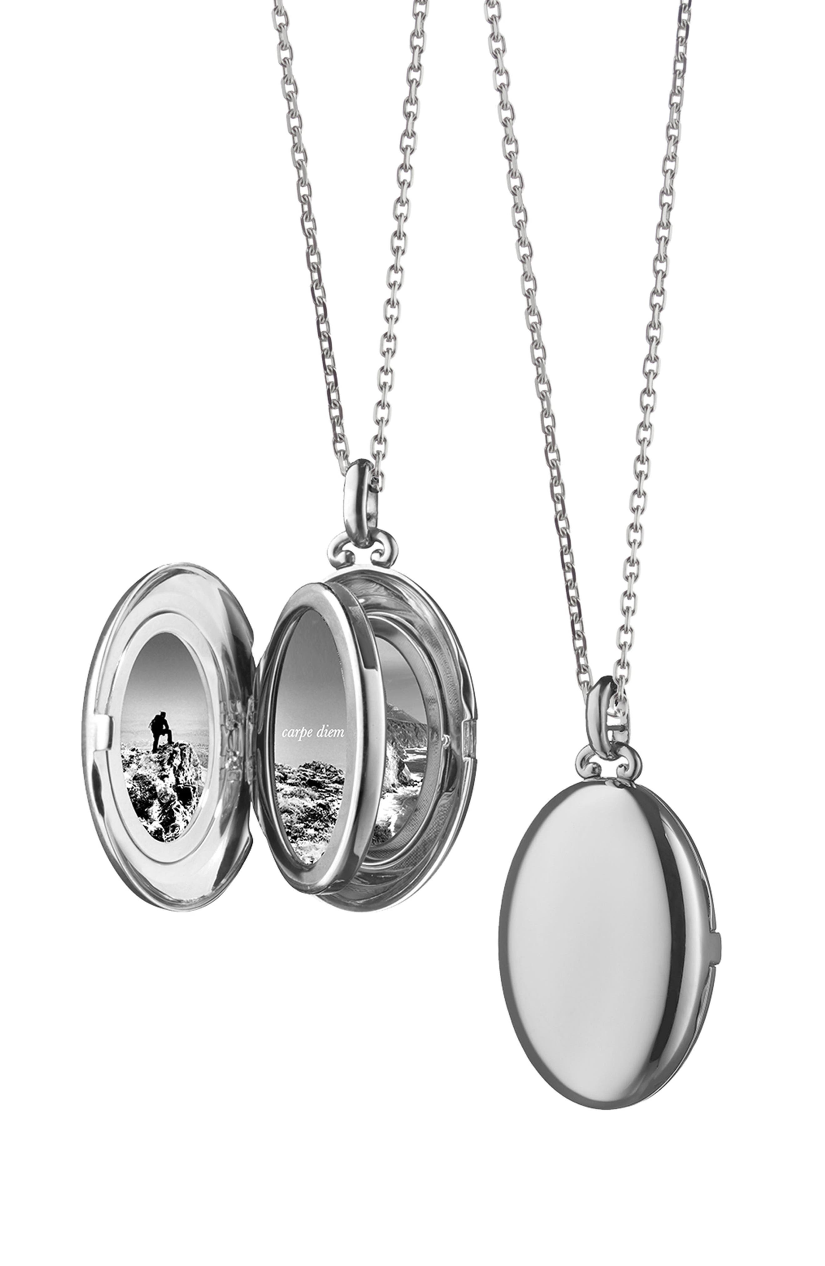 Four Image Mini Locket Necklace,                         Main,                         color, Sterling Silver