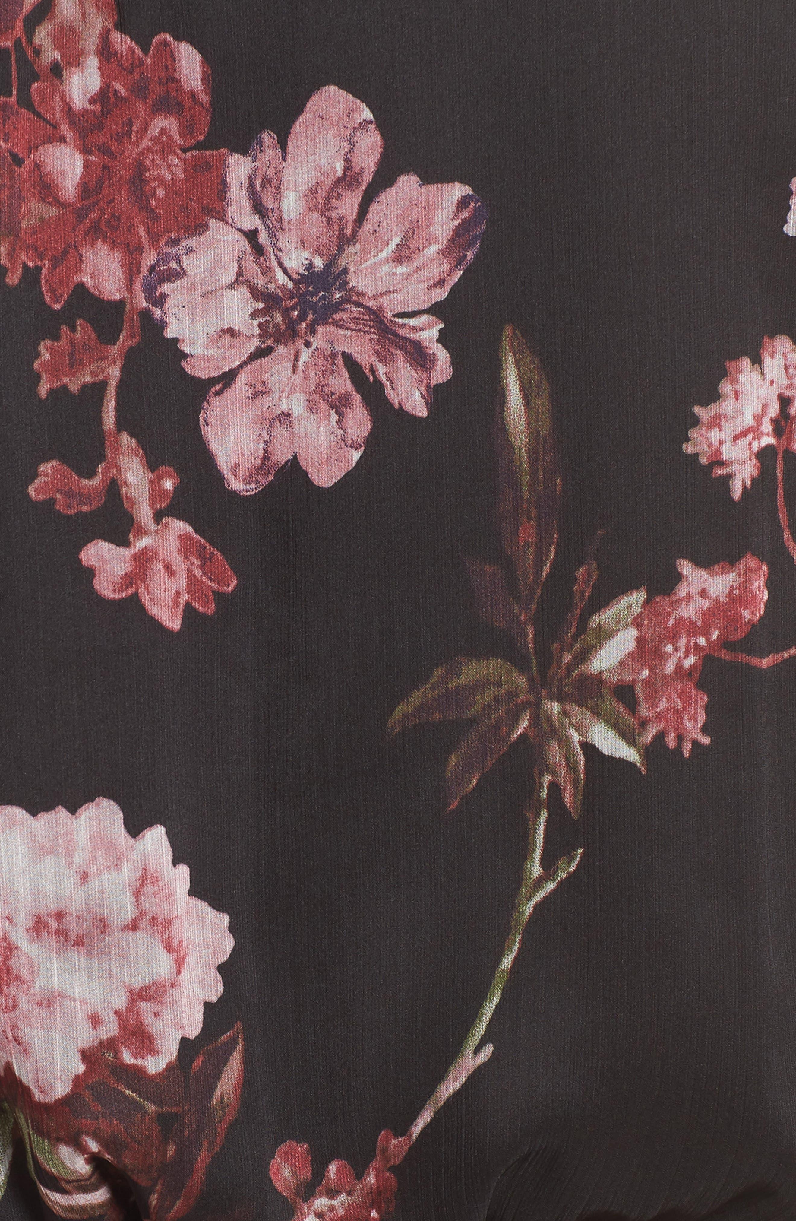 Garden Fleur Chiffon Blouson Dress,                             Alternate thumbnail 6, color,                             Rich Black
