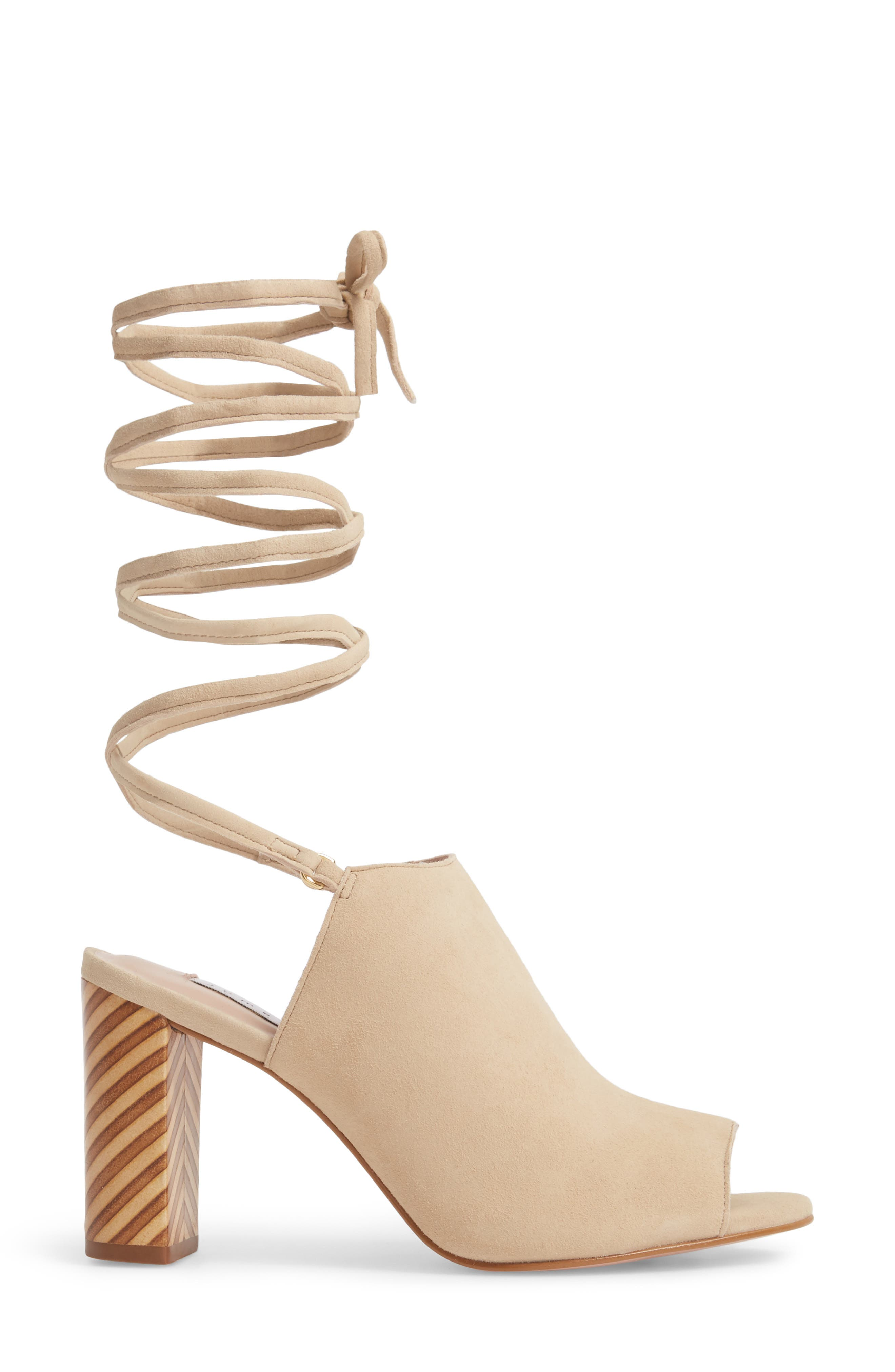 Allegra Ankle Wrap Sandal,                             Alternate thumbnail 3, color,                             Sand Suede