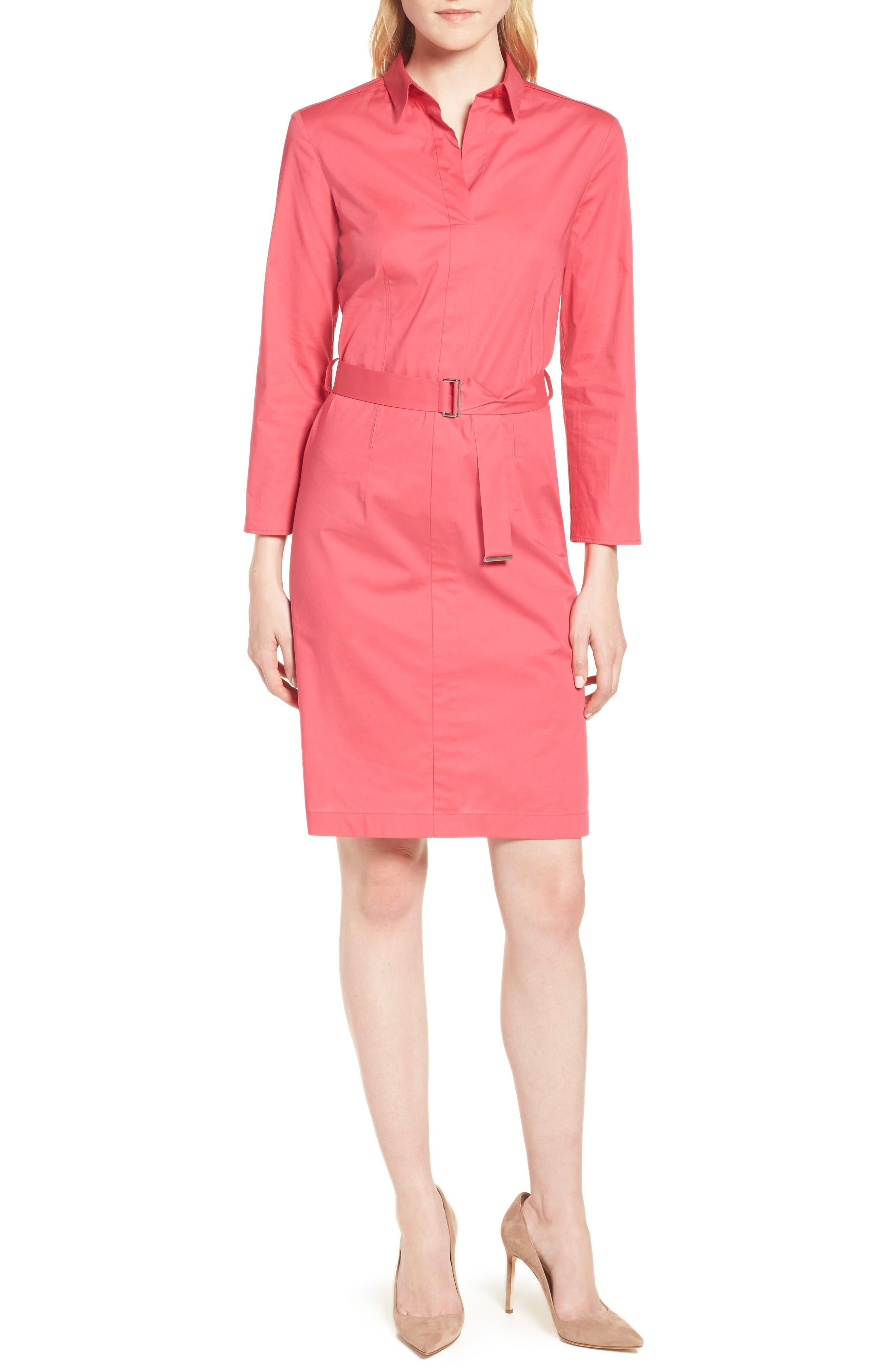 Dashiri Stretch Poplin Dress,                             Main thumbnail 1, color,                             Lychee Pink