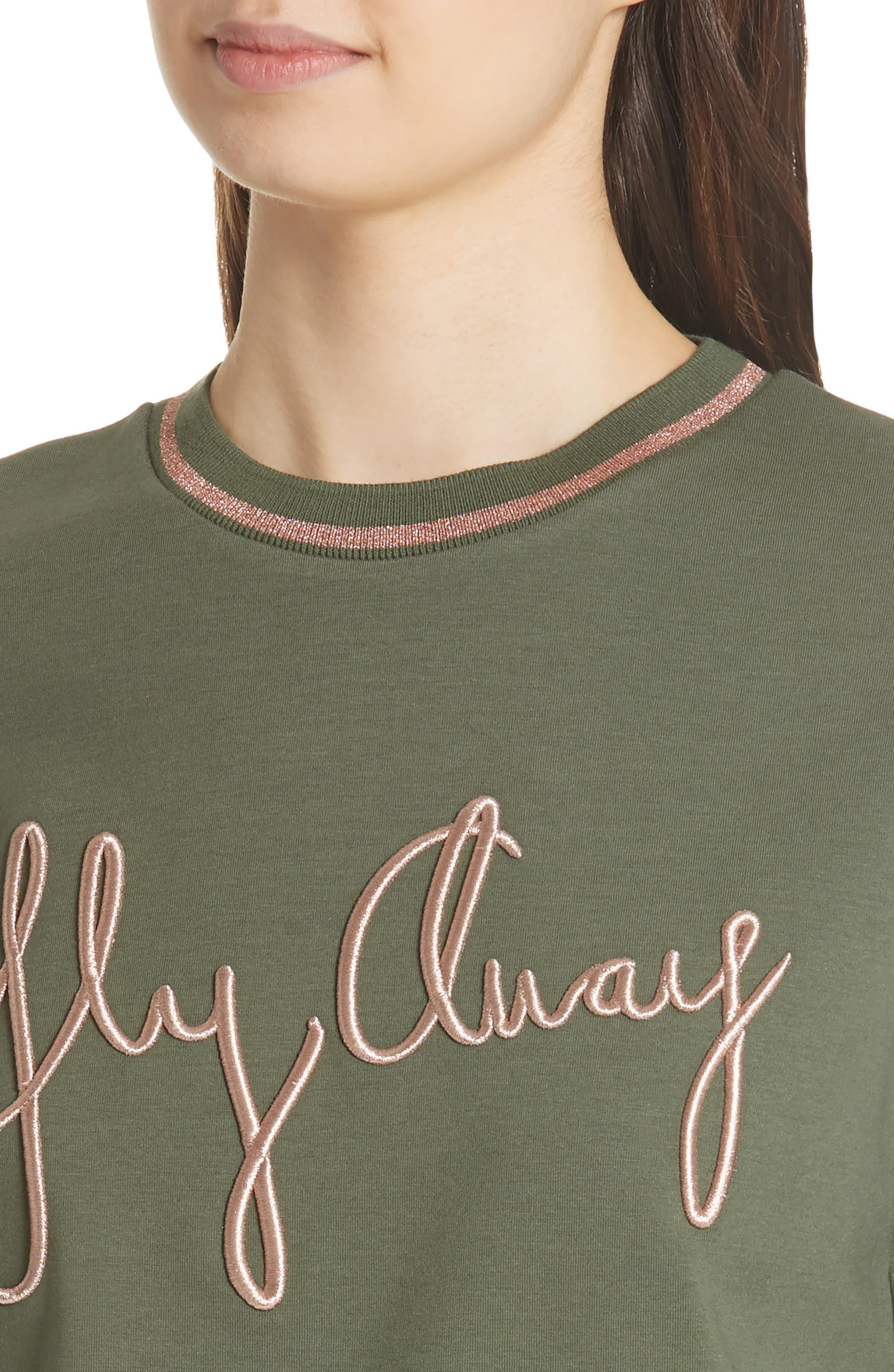Abileen Fly Away Embroidered Sweatshirt,                             Alternate thumbnail 4, color,                             Khaki