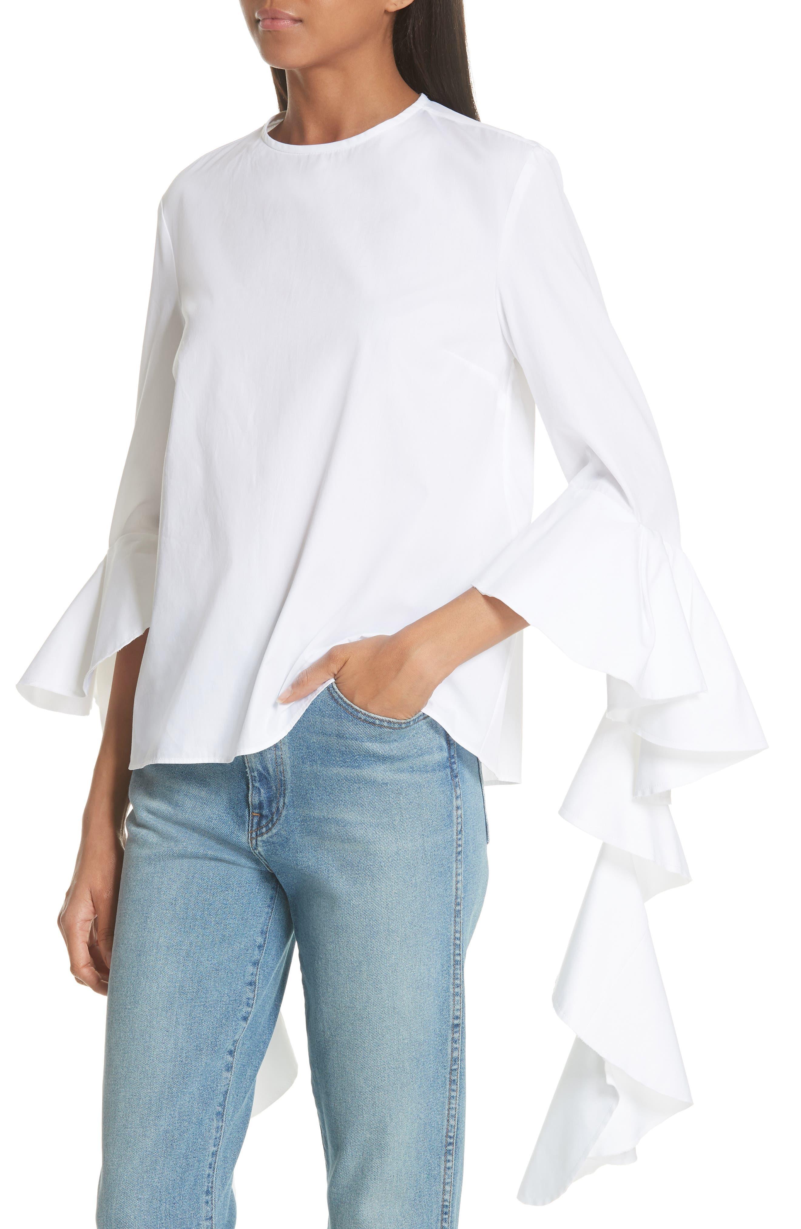 Emmeline Frill Sleeve Top,                             Alternate thumbnail 4, color,                             White