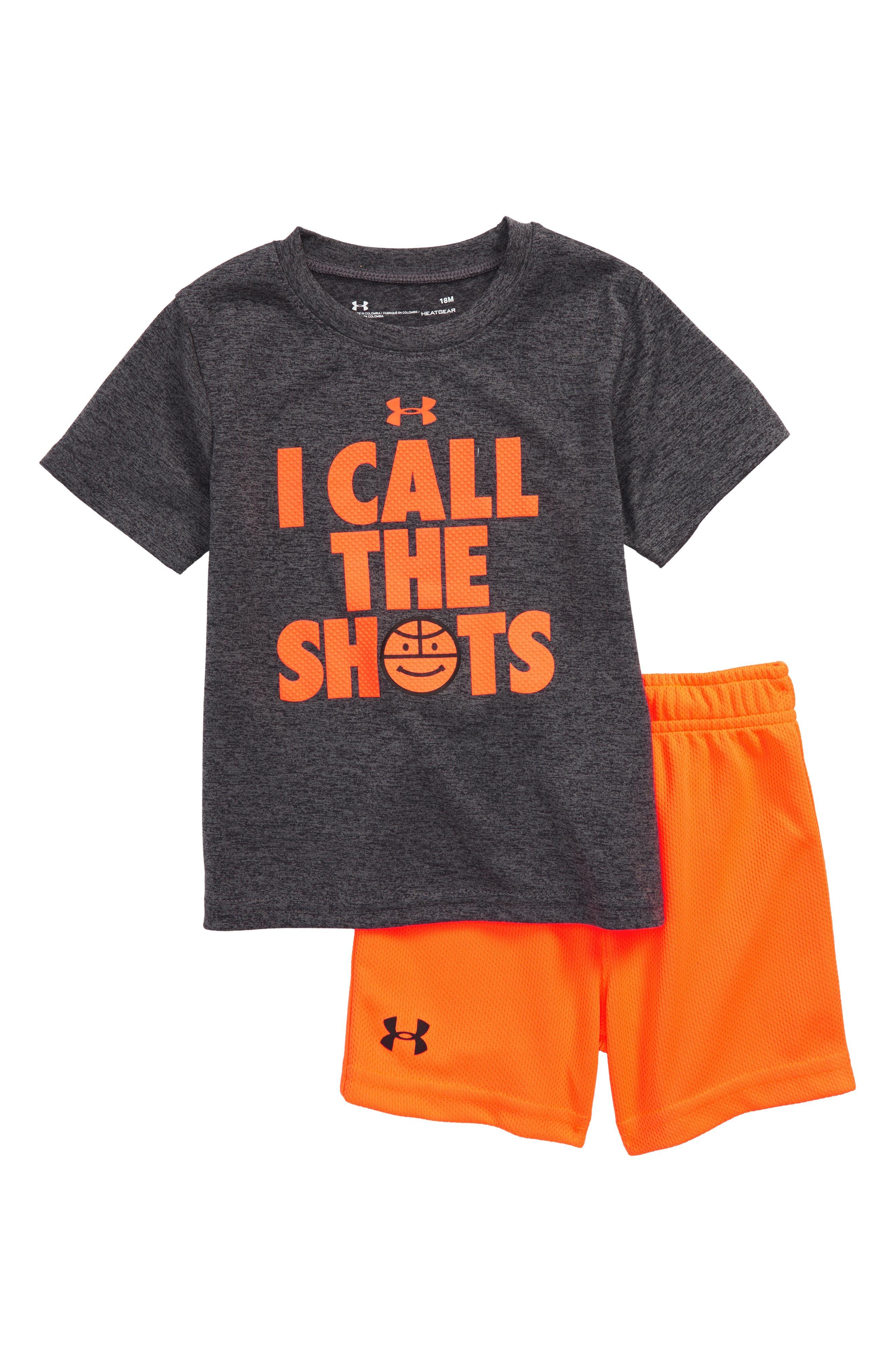 I Call the Shots HeatGear<sup>®</sup> T-Shirt & Mesh Shorts Set,                             Main thumbnail 1, color,                             Carbon Heather