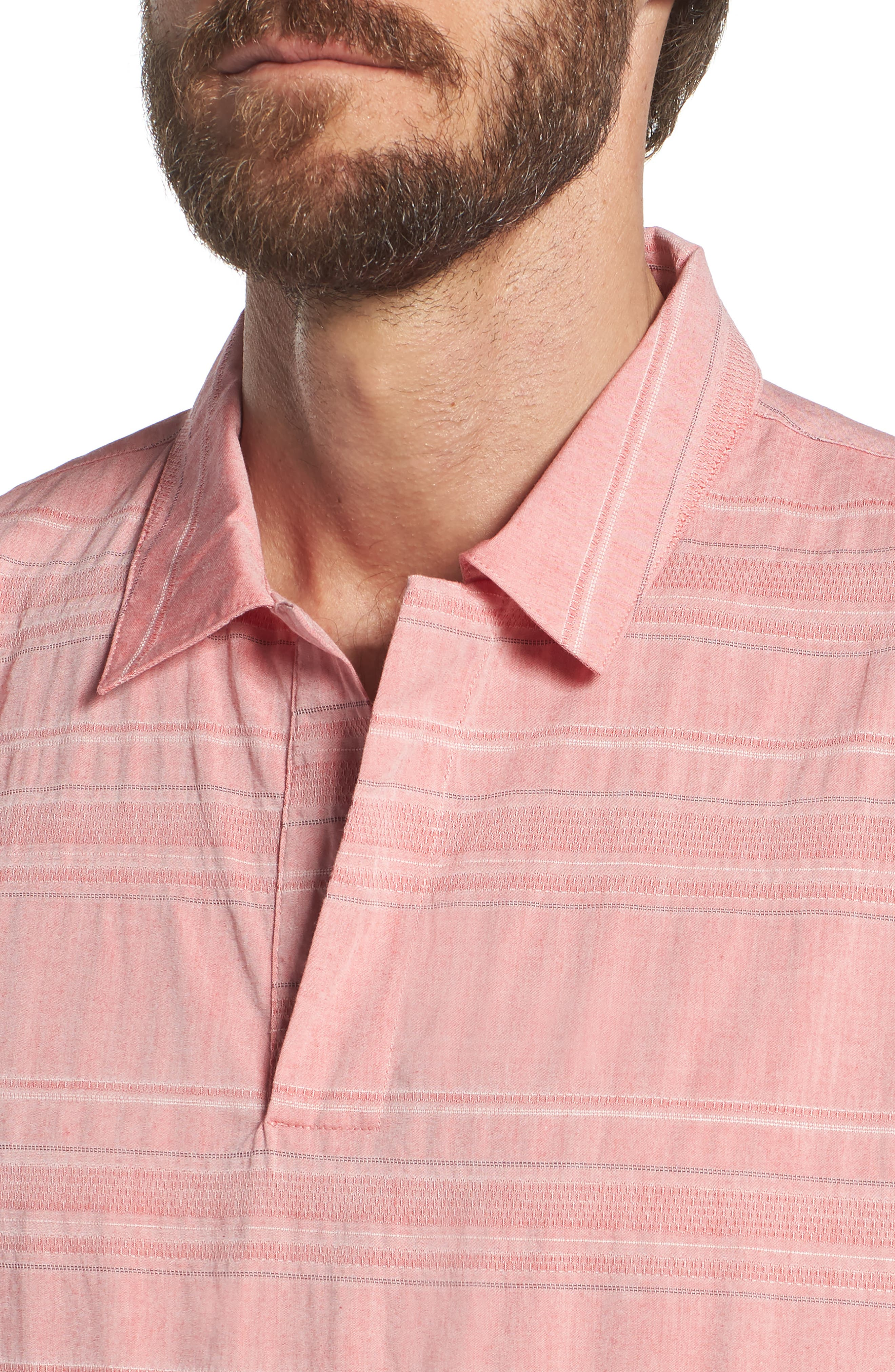 Beach Slim Fit Stripe Polo,                             Alternate thumbnail 4, color,                             Katama Awning - Faded Adobe