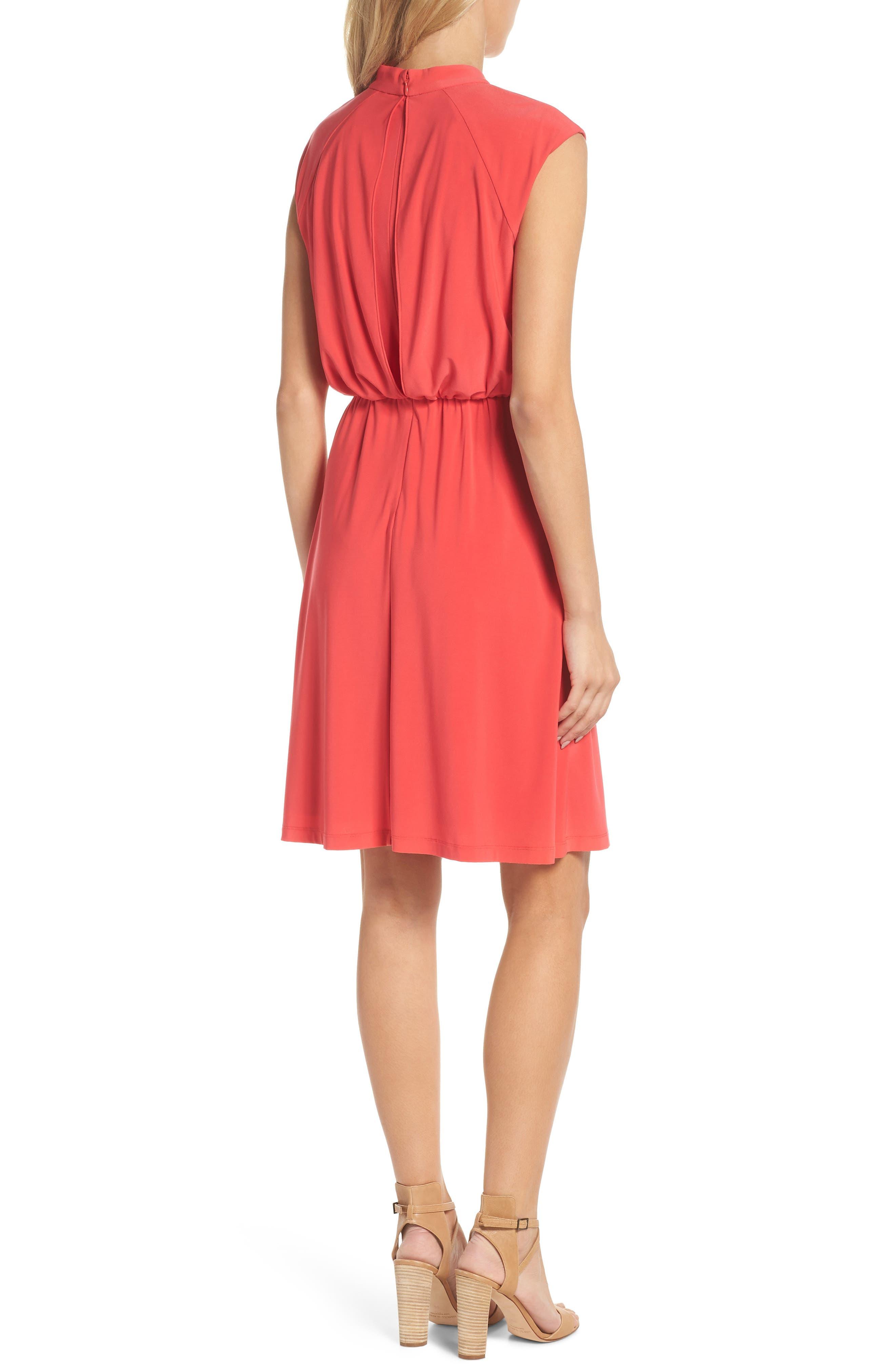 Twist Neck Jersey Blouson Dress,                             Alternate thumbnail 2, color,                             Geranium