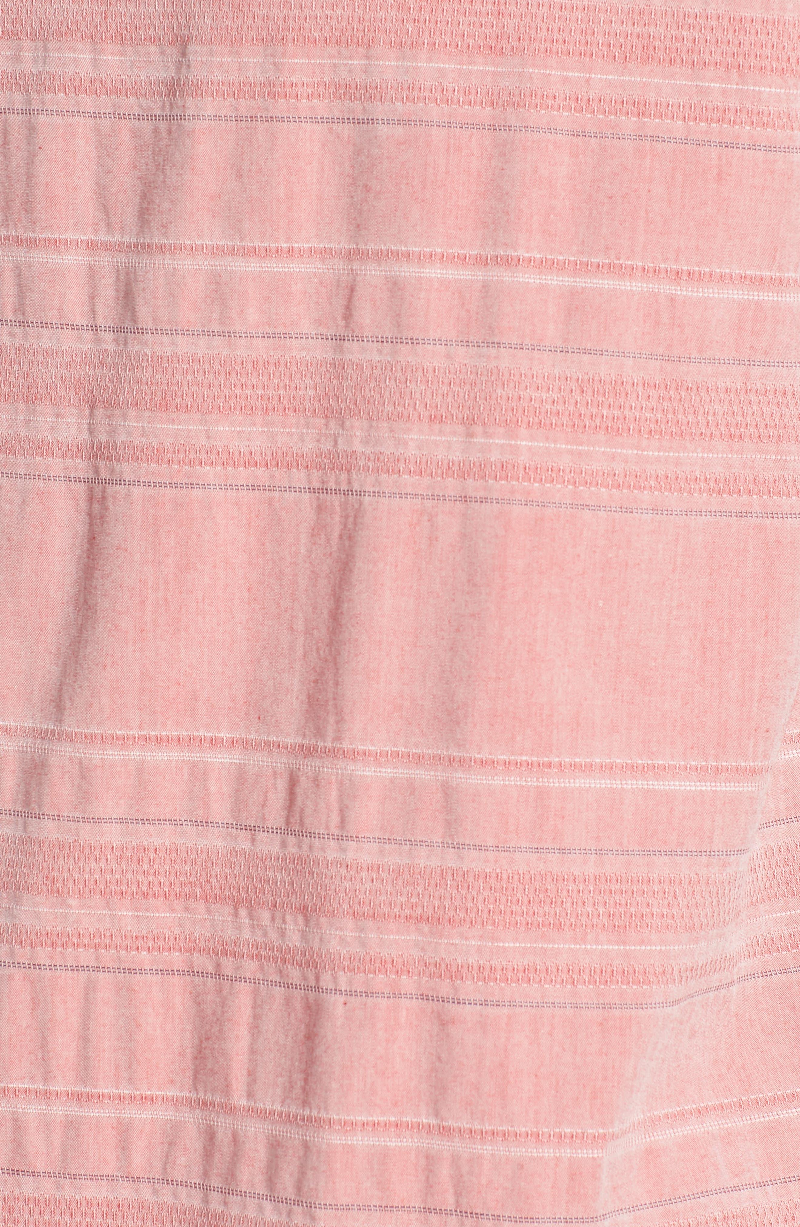 Beach Slim Fit Stripe Polo,                             Alternate thumbnail 5, color,                             Katama Awning - Faded Adobe