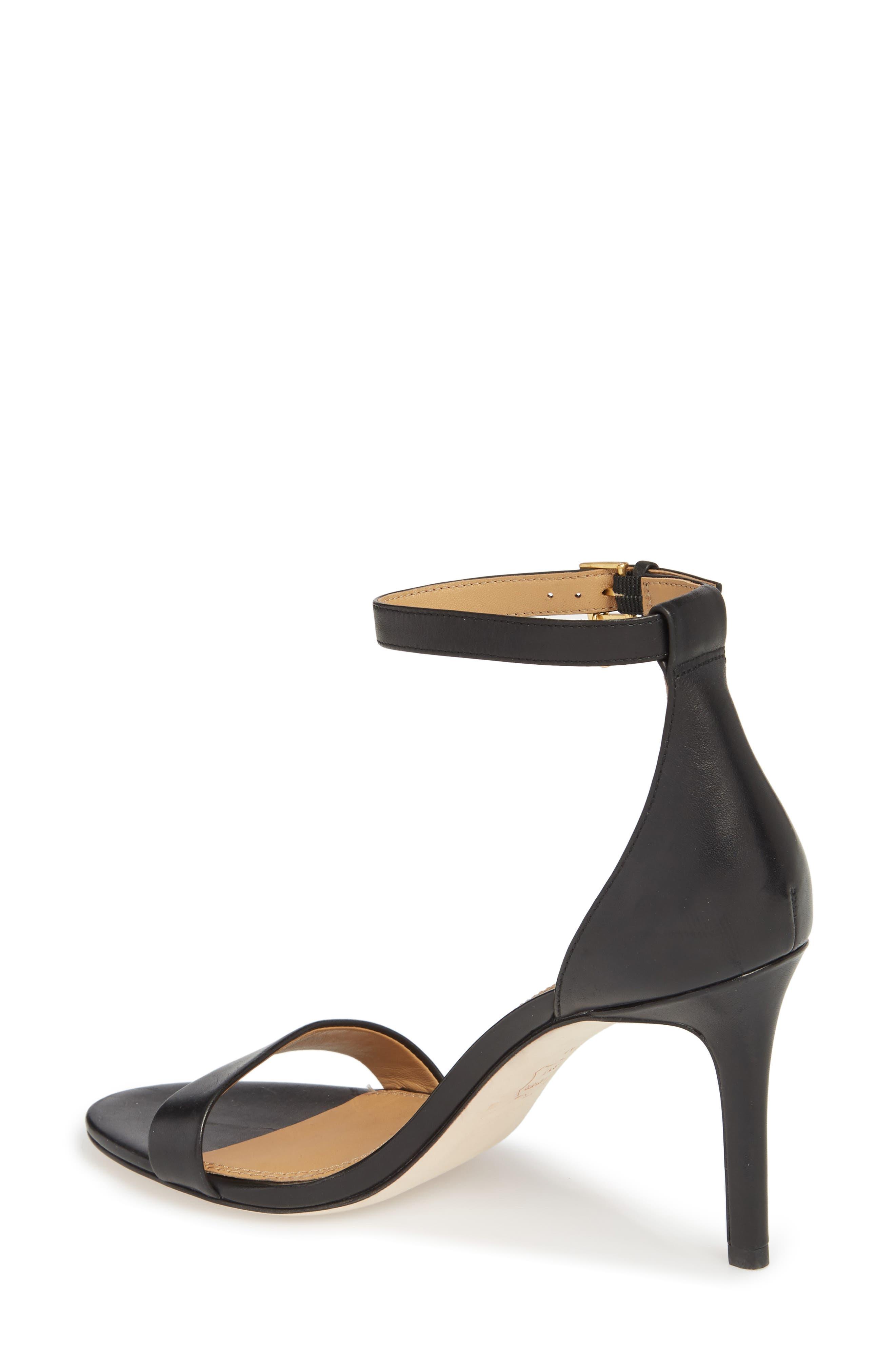 Ellie Ankle Strap Sandal,                             Alternate thumbnail 2, color,                             Black Leather