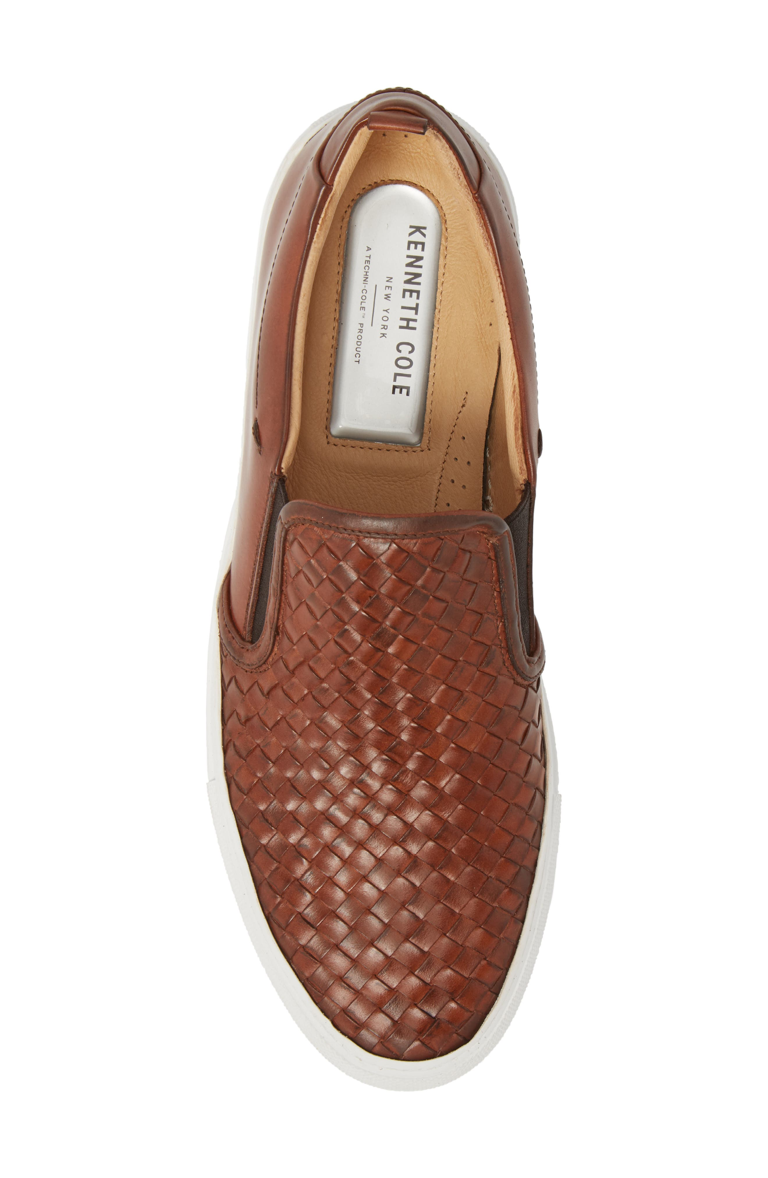 Grifyn Woven Slip-On Sneaker,                             Alternate thumbnail 5, color,                             Cognac Leather