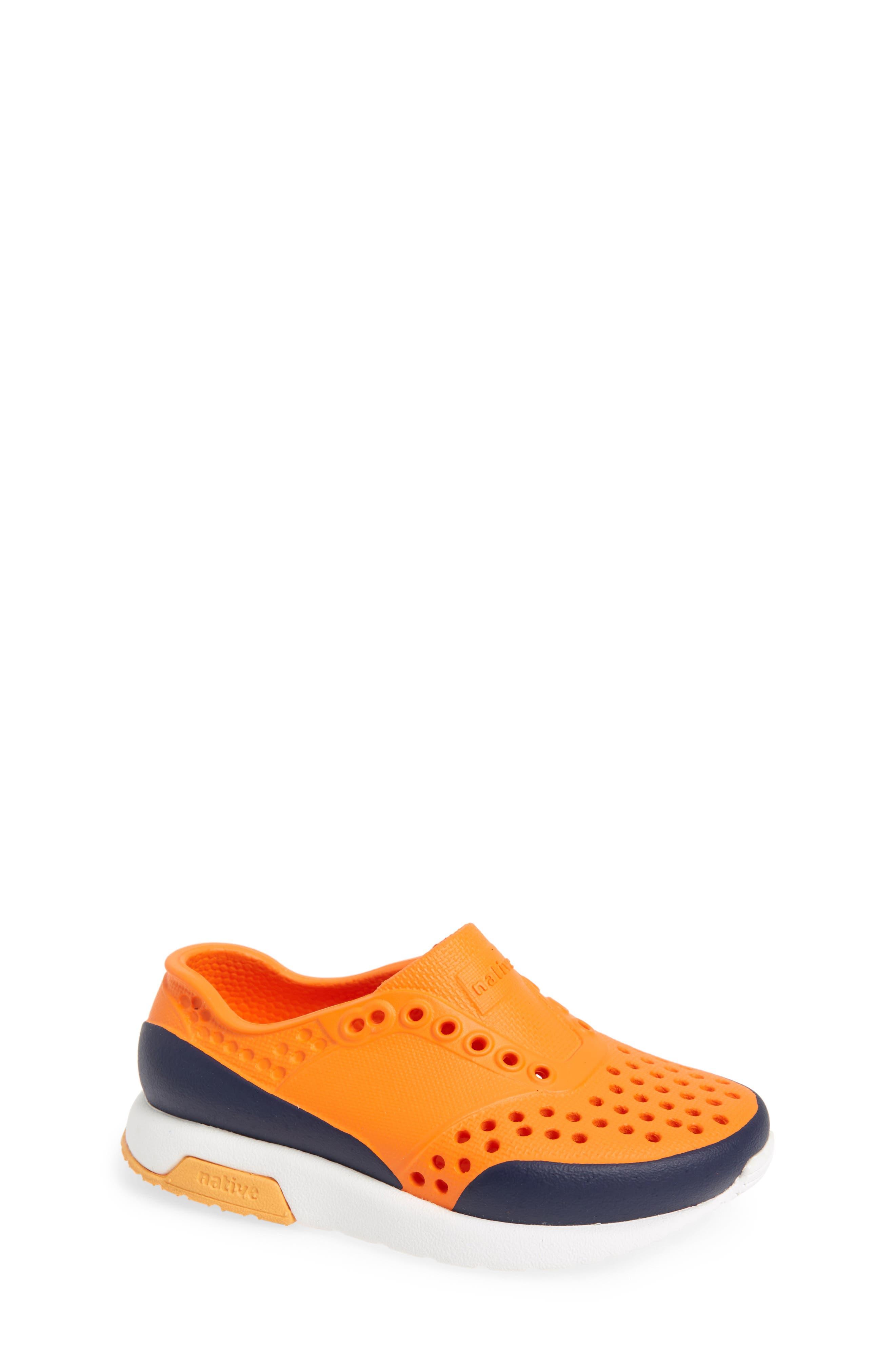 Lennox Block Slip-On Sneaker,                             Main thumbnail 1, color,                             Sunset Orange/ White/ Blue