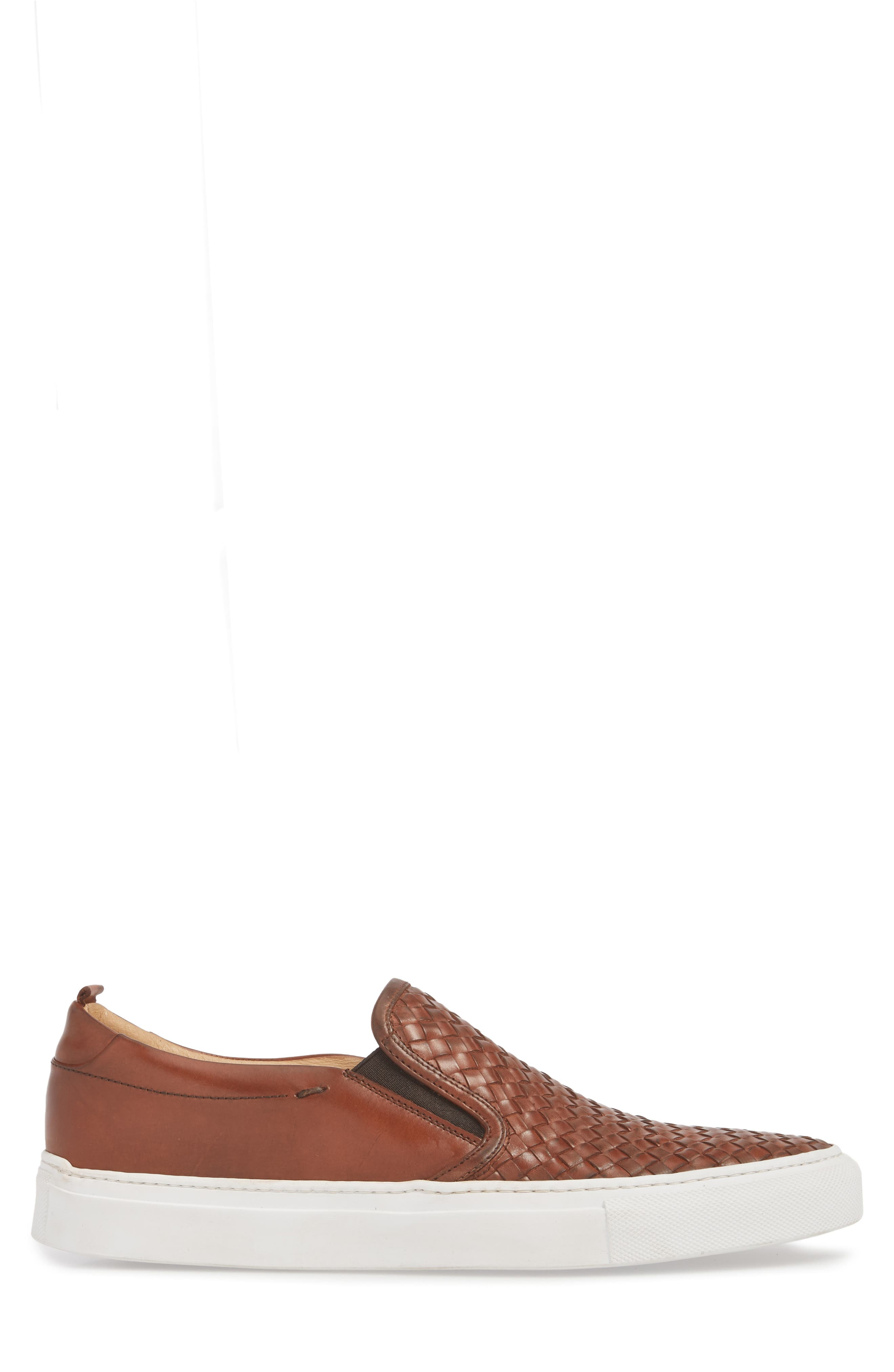 Grifyn Woven Slip-On Sneaker,                             Alternate thumbnail 3, color,                             Cognac Leather