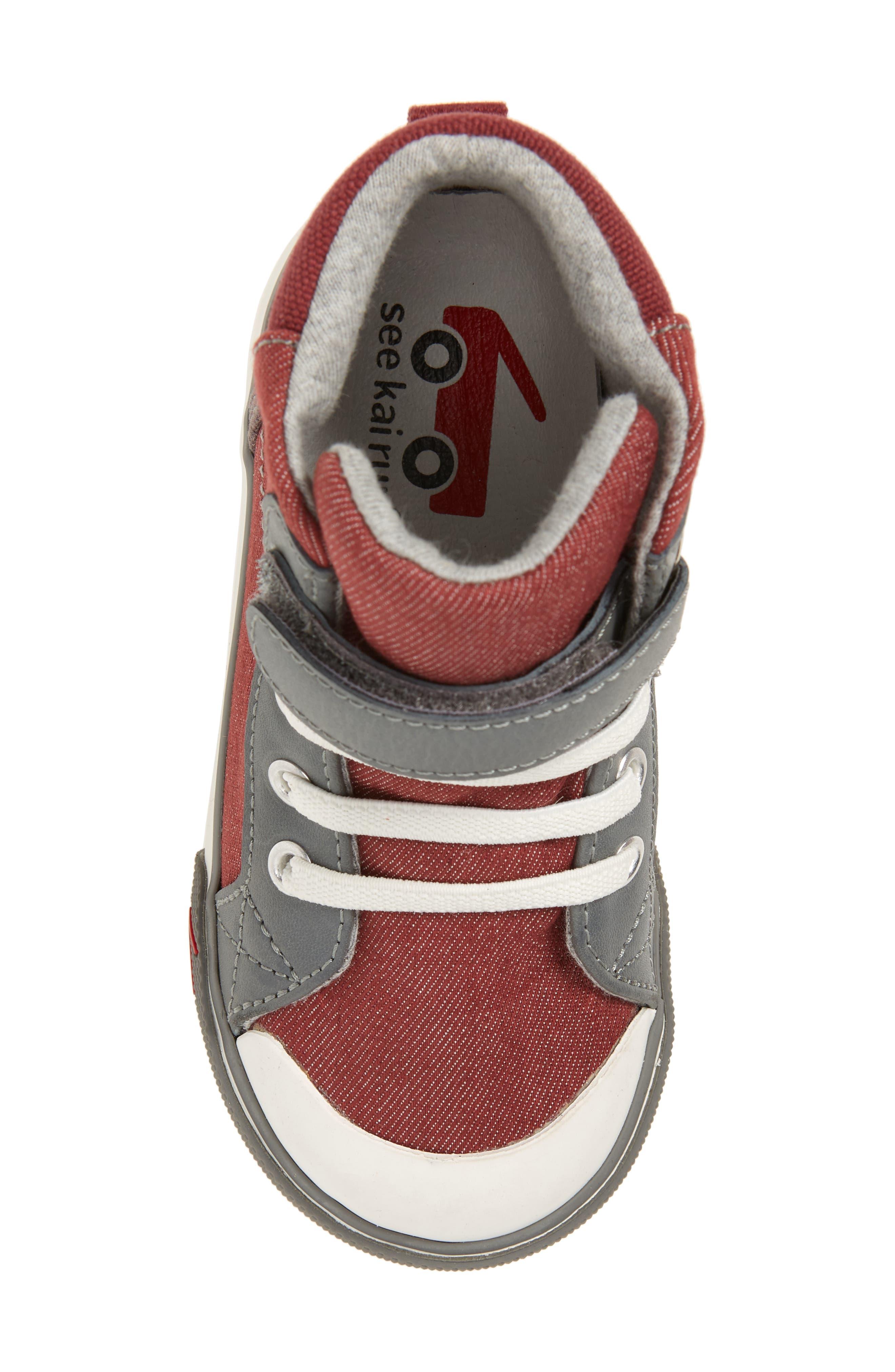 'Dane' Sneaker,                             Alternate thumbnail 5, color,                             Burgundy Denim