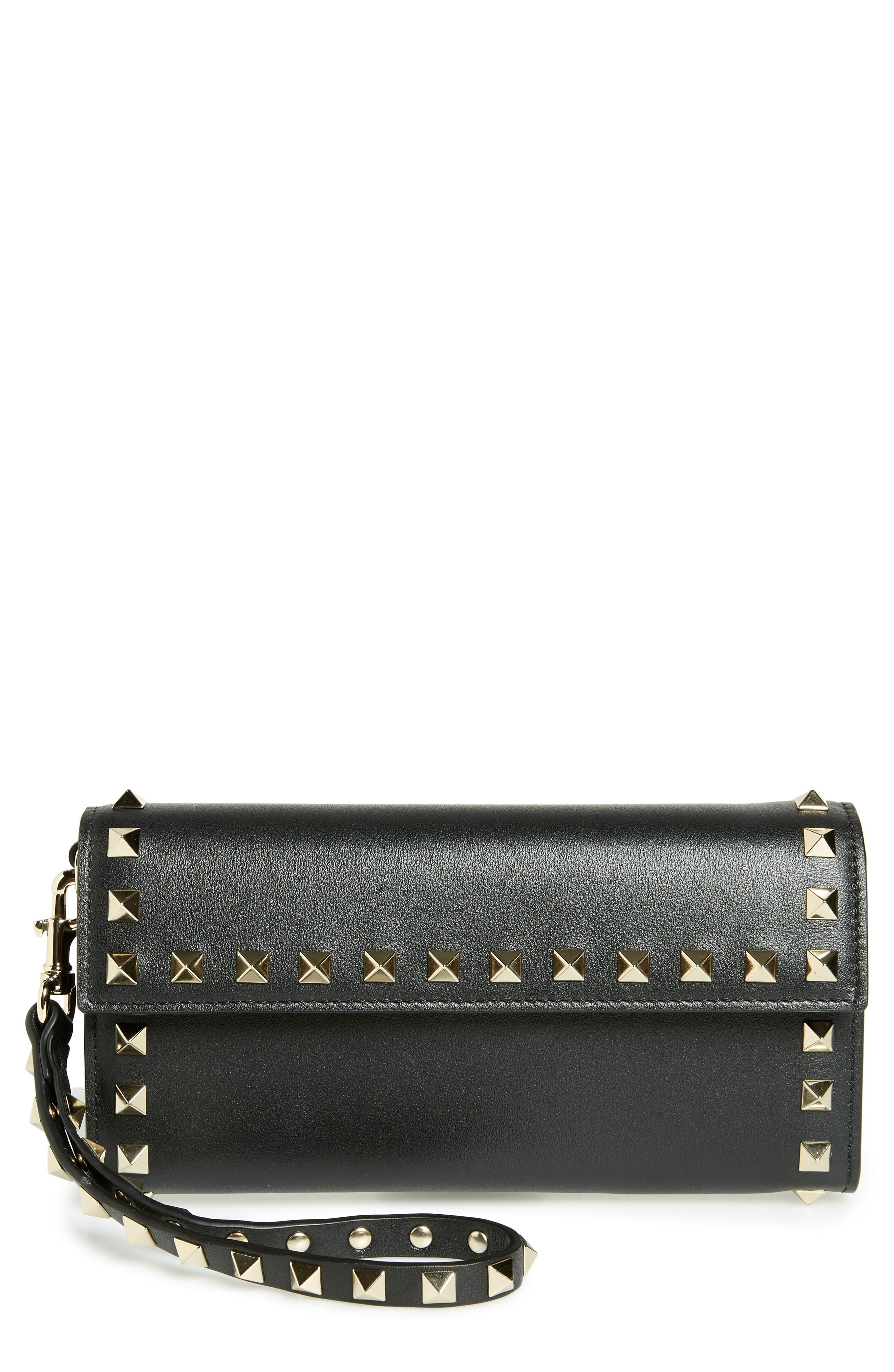 VALENTINO GARAVANI Rockstud Flap Continental Wristlet Wallet