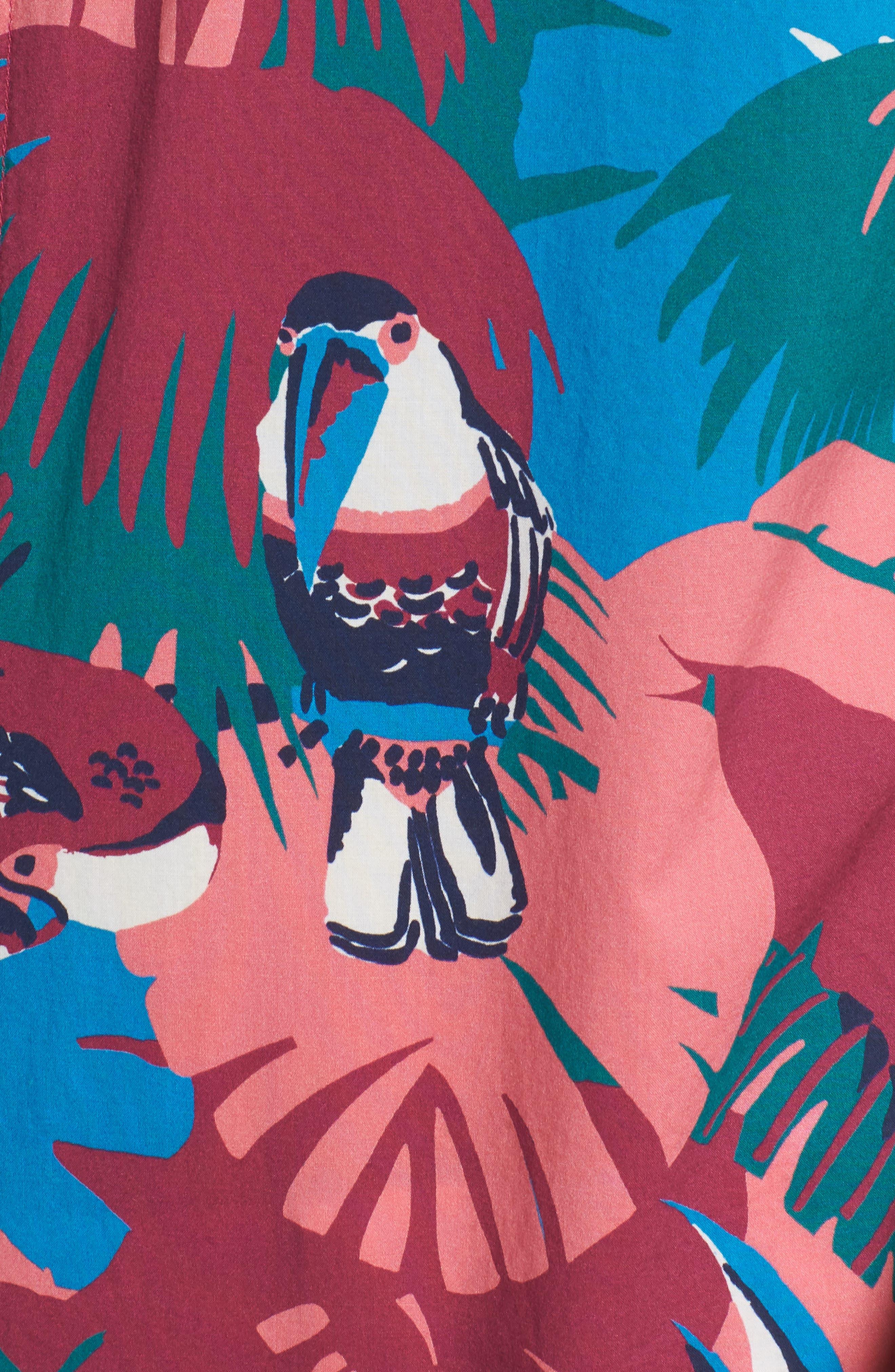 Riviera Slim Fit Toucan Print Sport Shirt,                             Alternate thumbnail 3, color,                             Toucan Tropics - Peony Coral