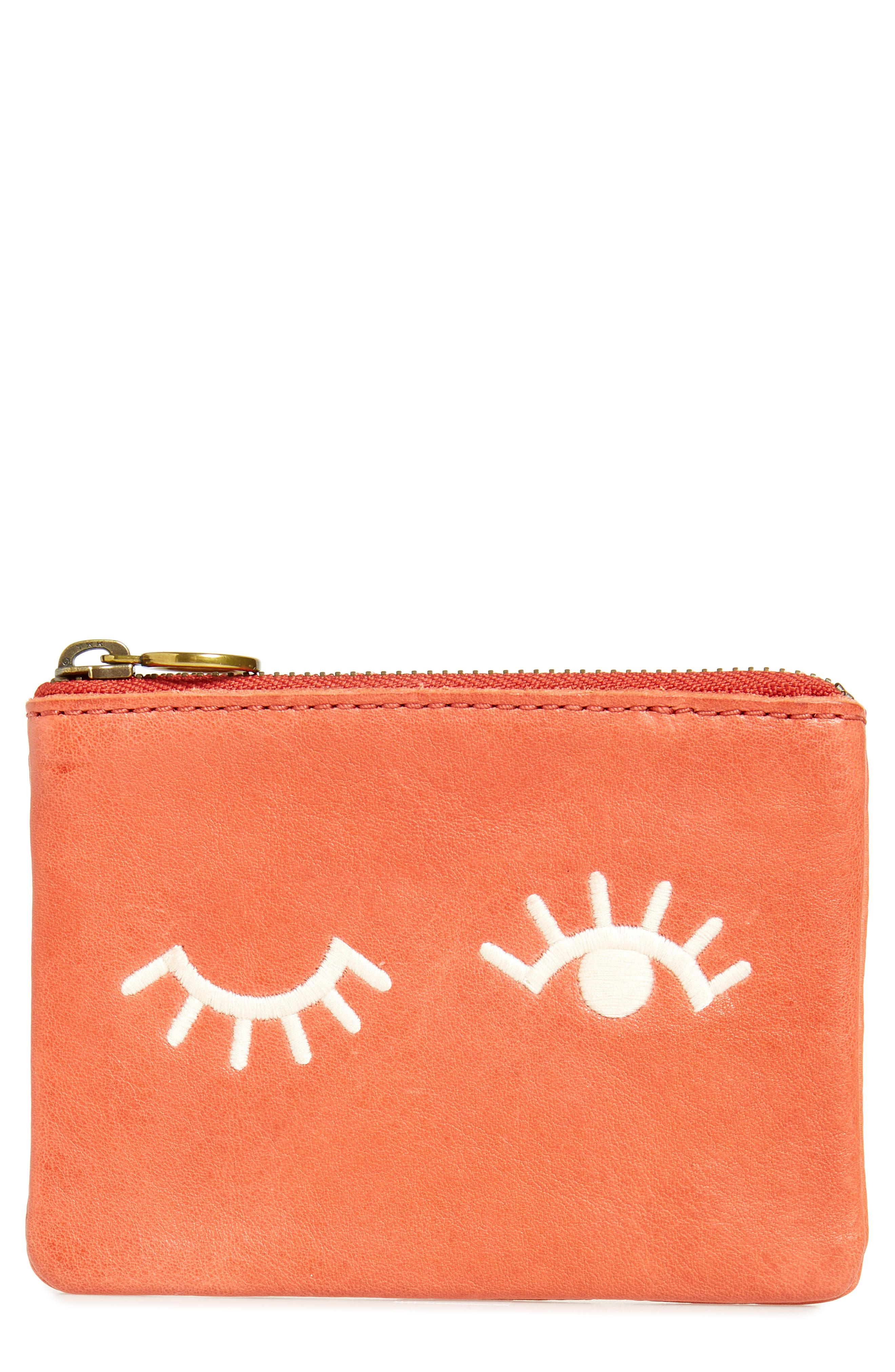 Eye Embroidered Leather Zip Pouch,                         Main,                         color, Parched Terracotta