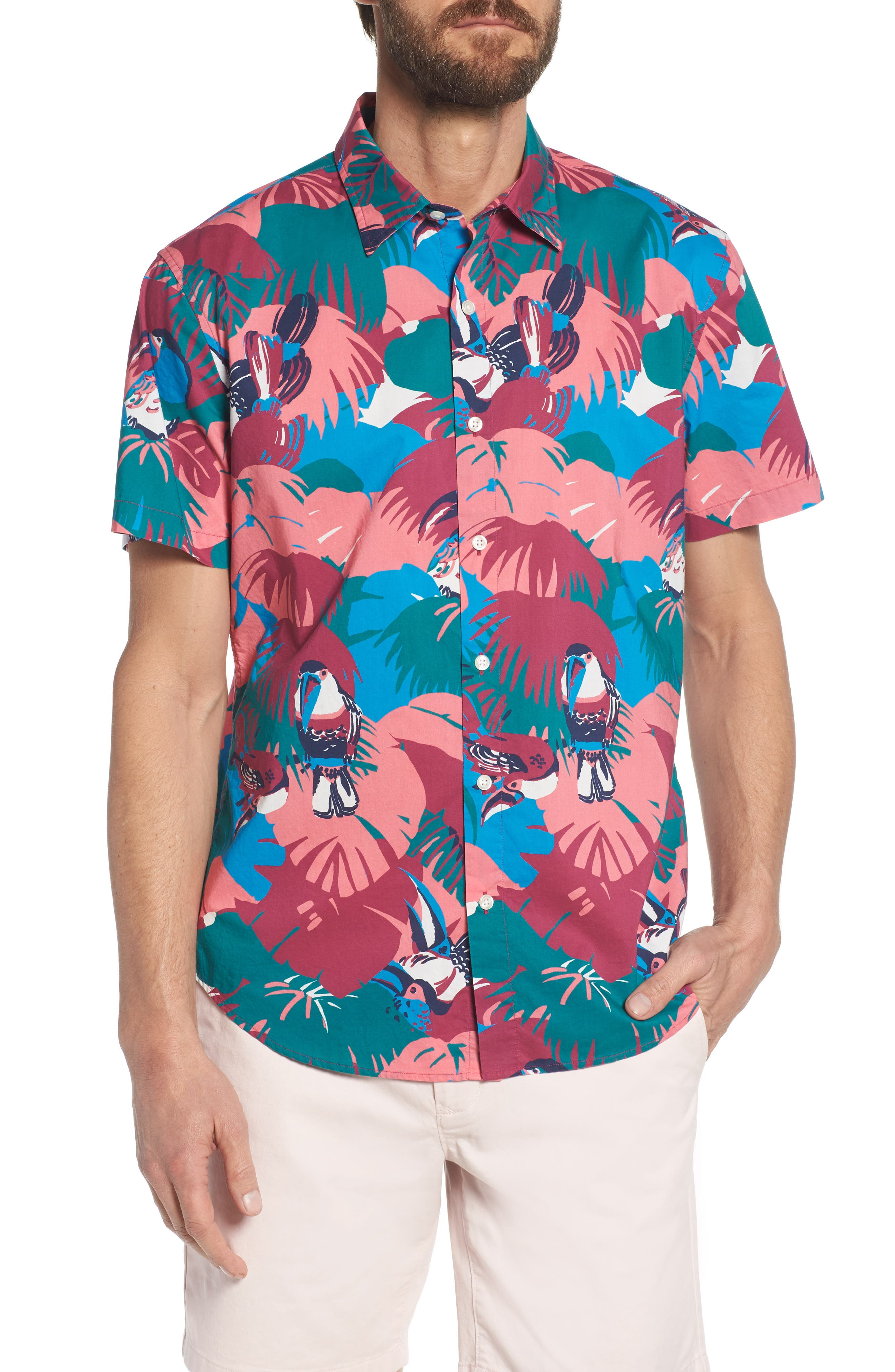 Riviera Slim Fit Toucan Print Sport Shirt,                         Main,                         color, Toucan Tropics - Peony Coral
