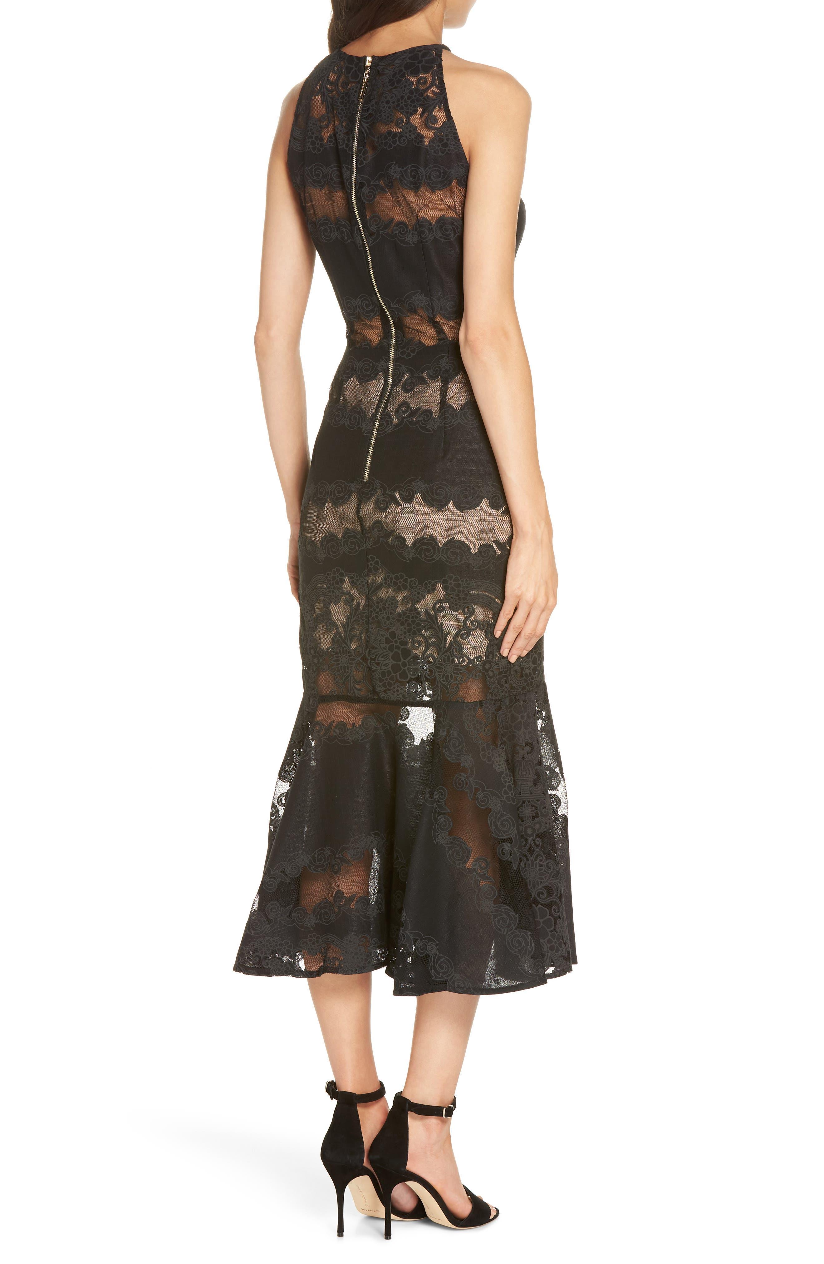 Bettina Lace Panel Tea Length Dress,                             Alternate thumbnail 2, color,                             Black
