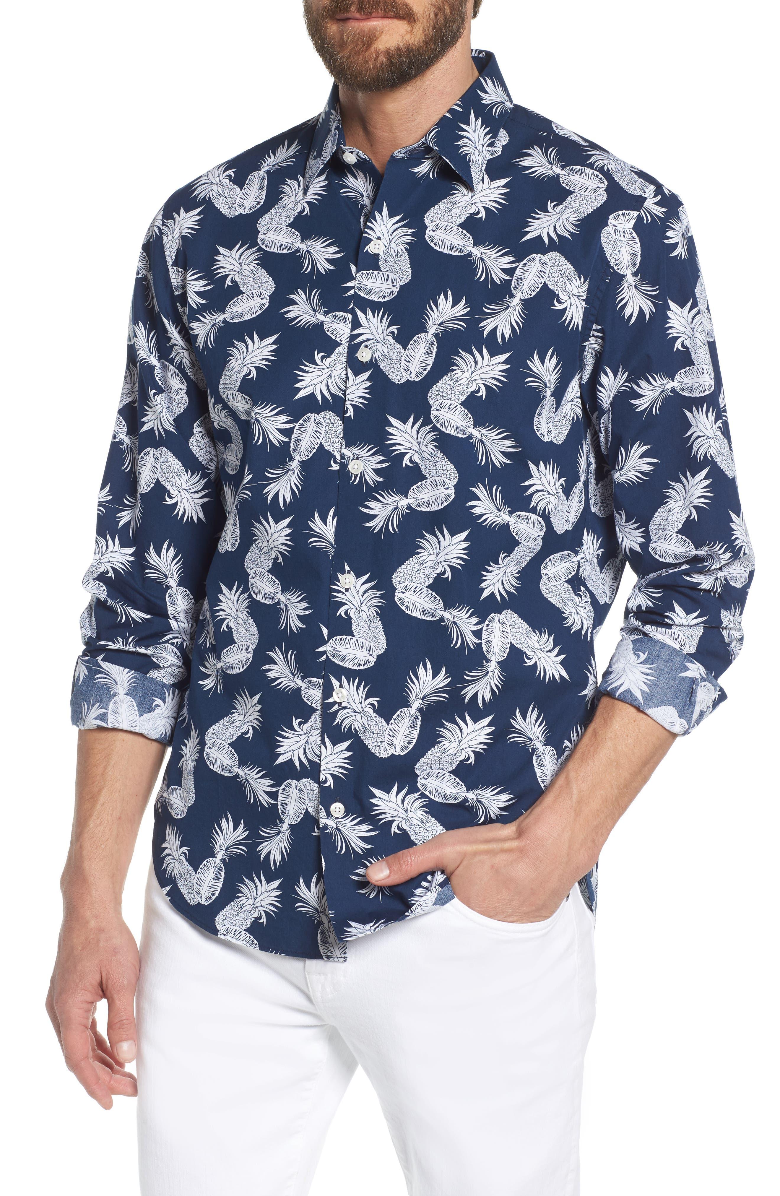 Unbutton Down Slim Fit Print Sport Shirt,                             Main thumbnail 1, color,                             Fancy Pineapples - Pacific
