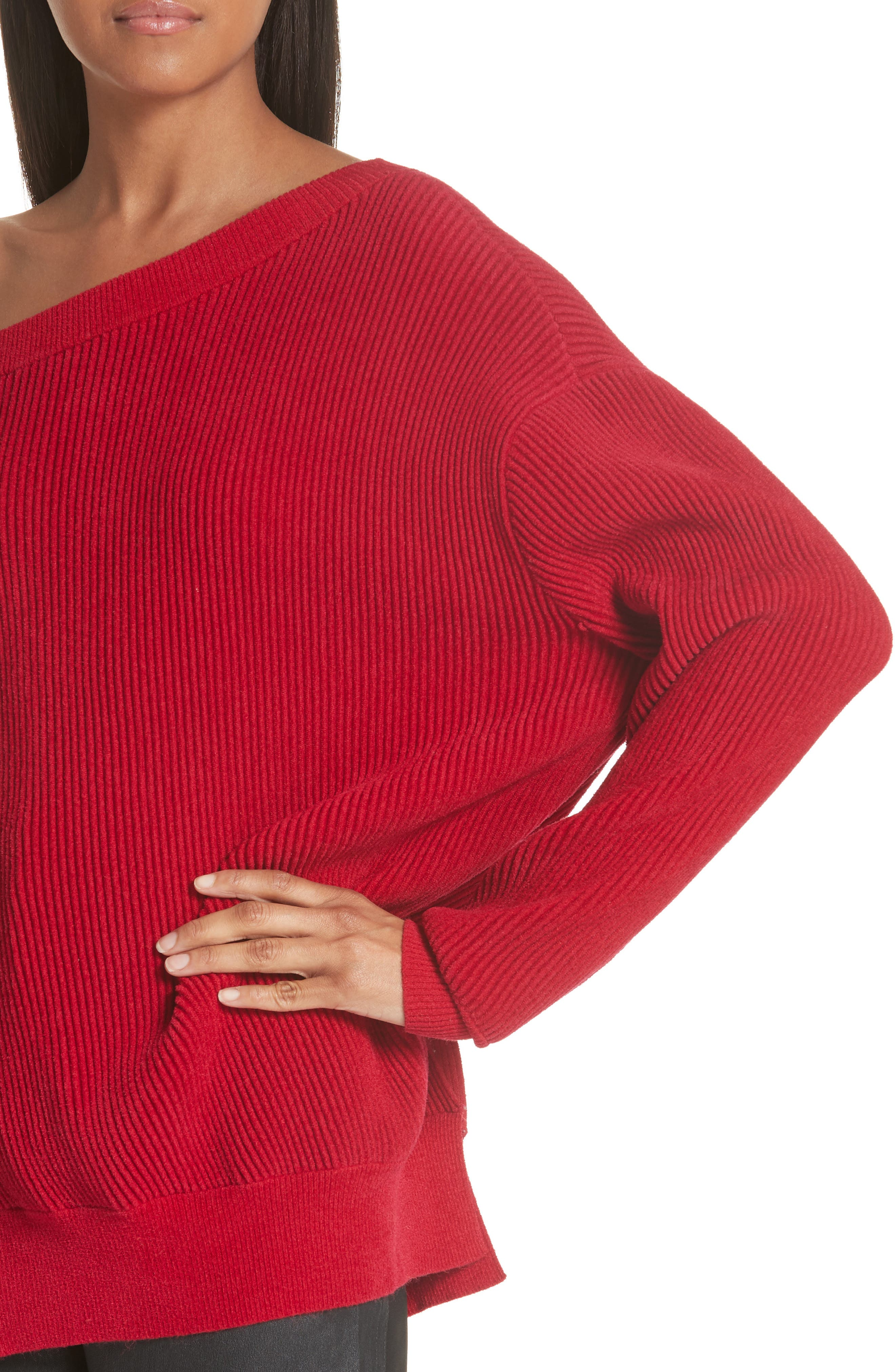 One-Shoulder Sweater,                             Alternate thumbnail 4, color,                             Cardinal-Red