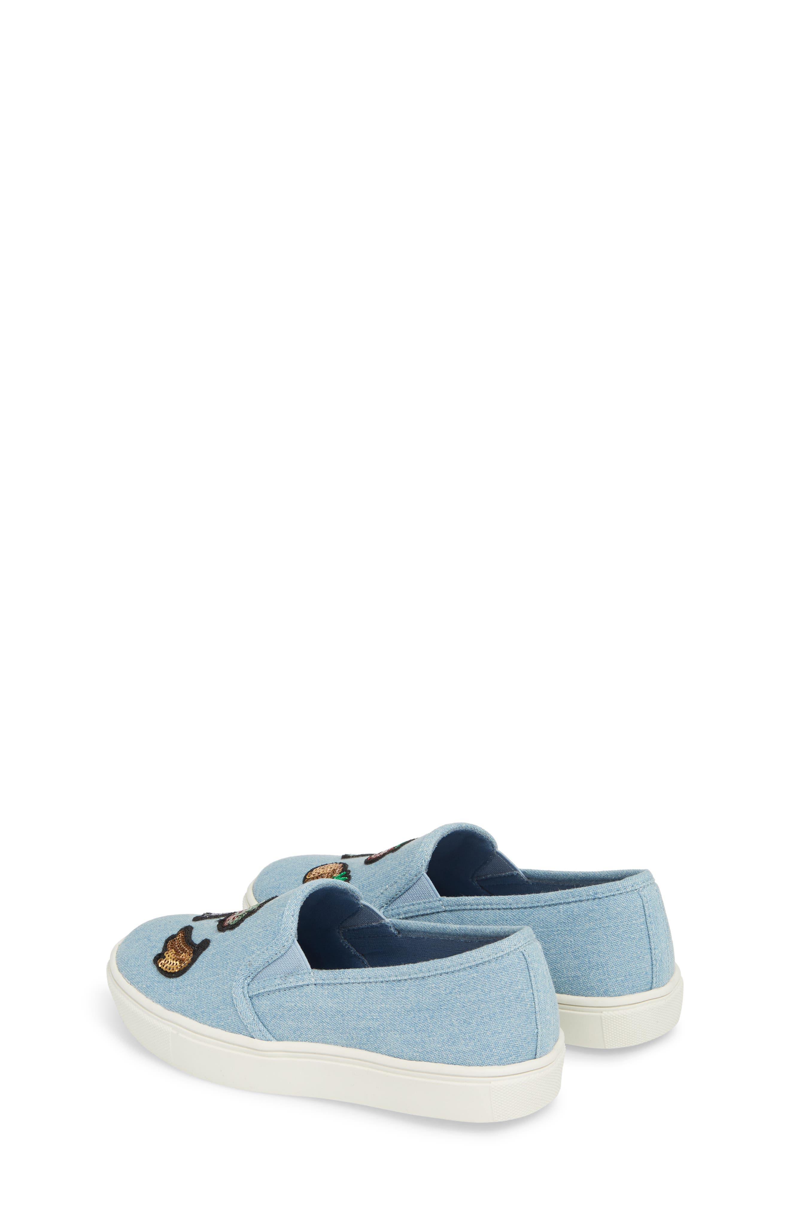 Twinny Snack Appliqué Sneaker,                             Alternate thumbnail 2, color,                             Chambray Fabric