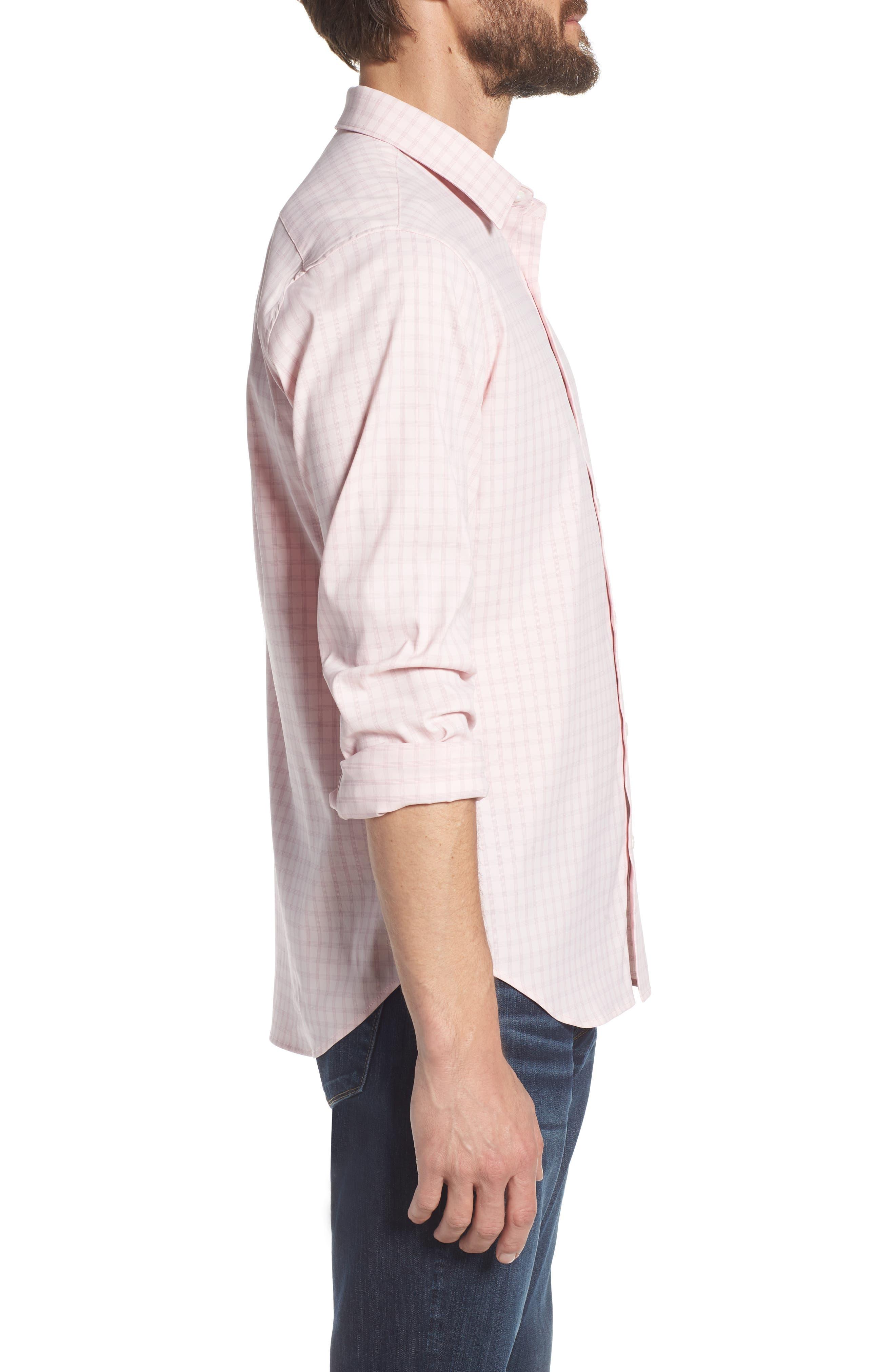 Slim Fit Check Performance Sport Shirt,                             Alternate thumbnail 4, color,                             Gulf Point Plaid - Skiivy Pink