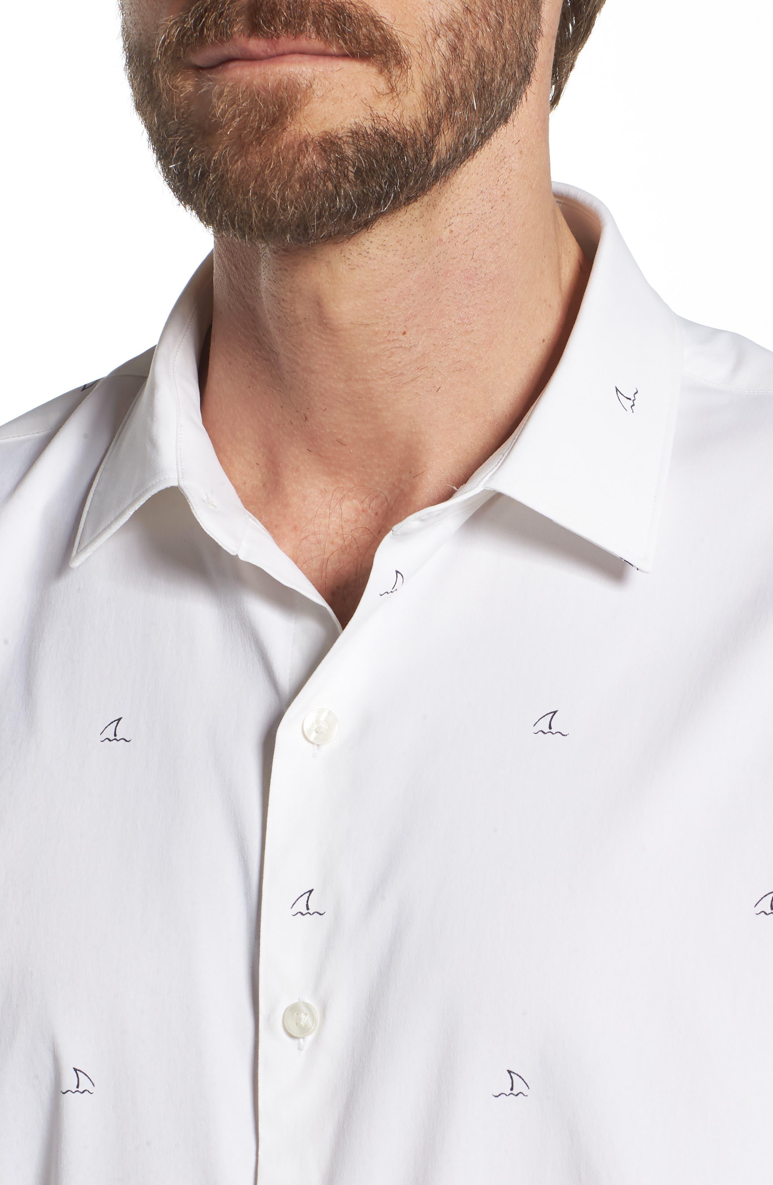 Slim Fit Shark Fin Print Performance Sport Shirt,                             Alternate thumbnail 2, color,                             Shark Fin - White