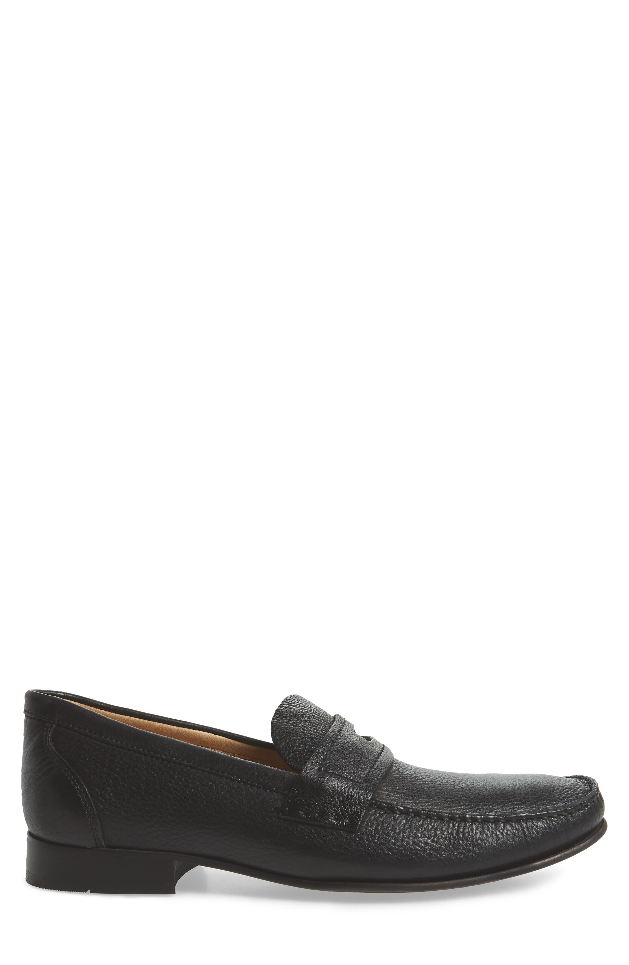 Eric Moc Toe Slip-On Loafer,                             Alternate thumbnail 3, color,                             Floater Black Leather
