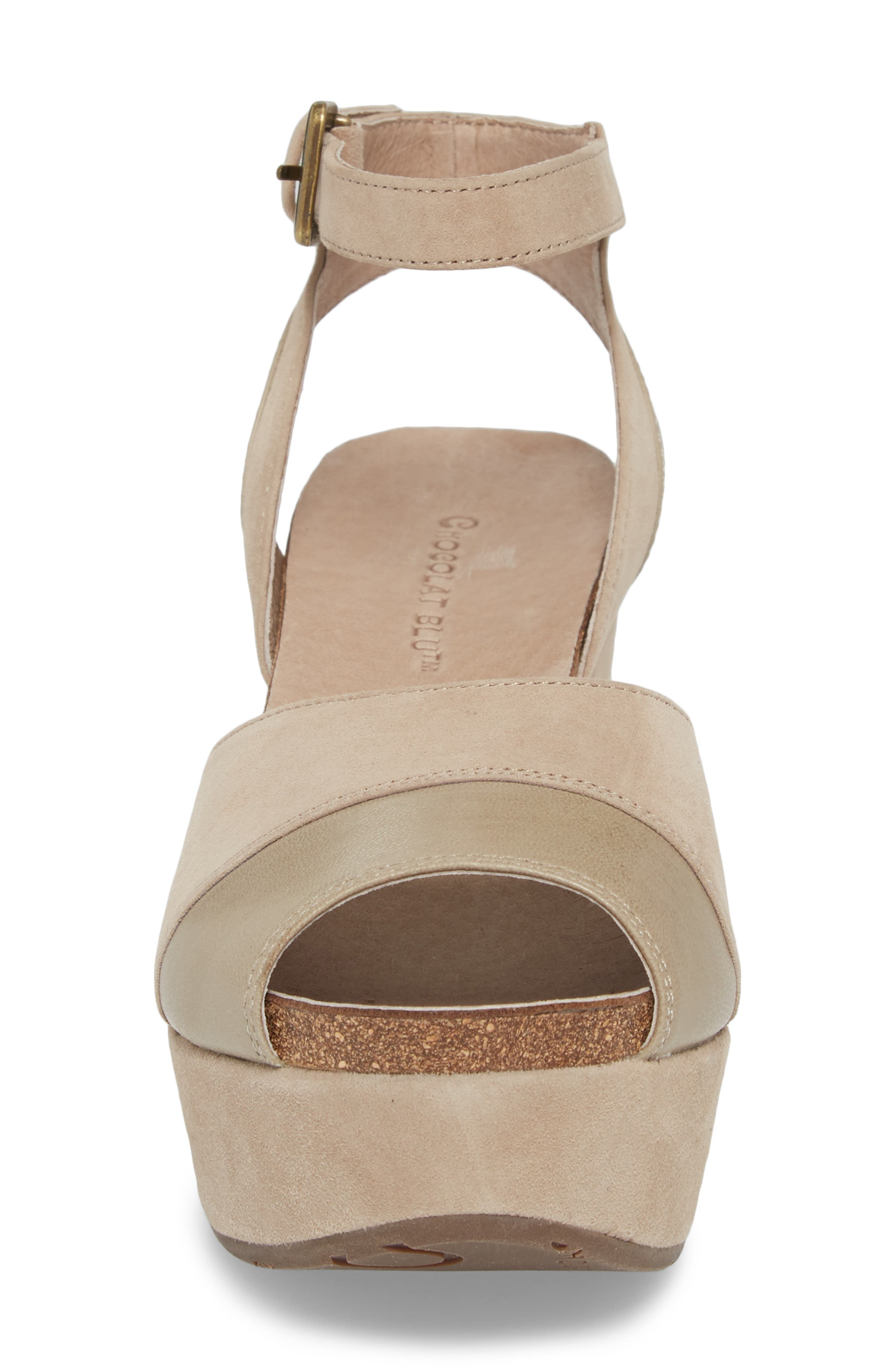Chocolate Blu Welby Ankle Strap Wedge Sandal,                             Alternate thumbnail 4, color,                             Taupe Suede