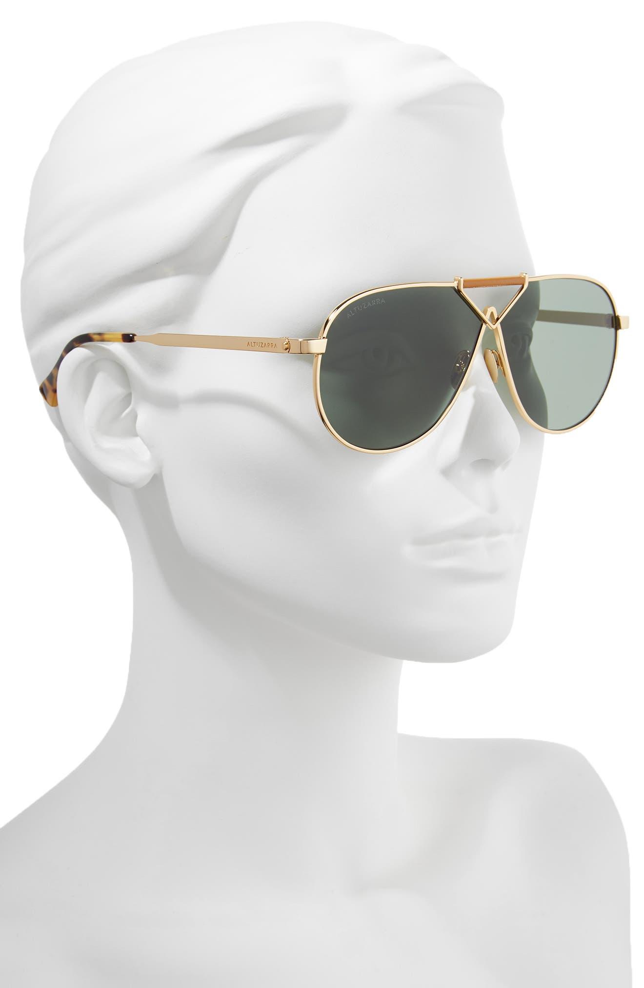 64mm Aviator Sunglasses,                             Alternate thumbnail 2, color,                             Gold