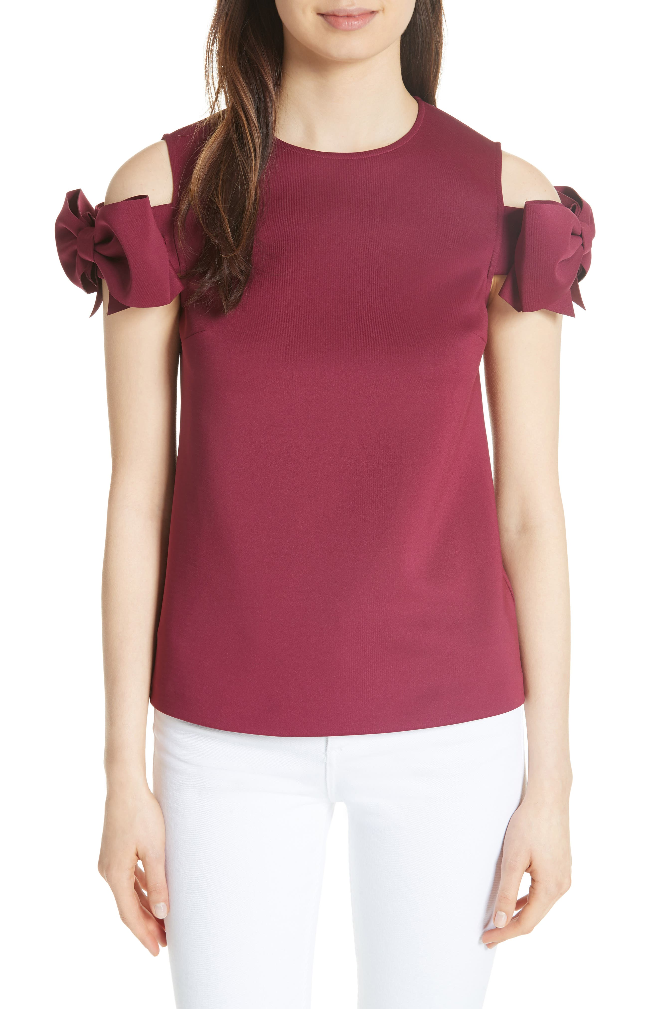Mendoll Bow Sleeve Cold Shoulder Top,                         Main,                         color, Maroon
