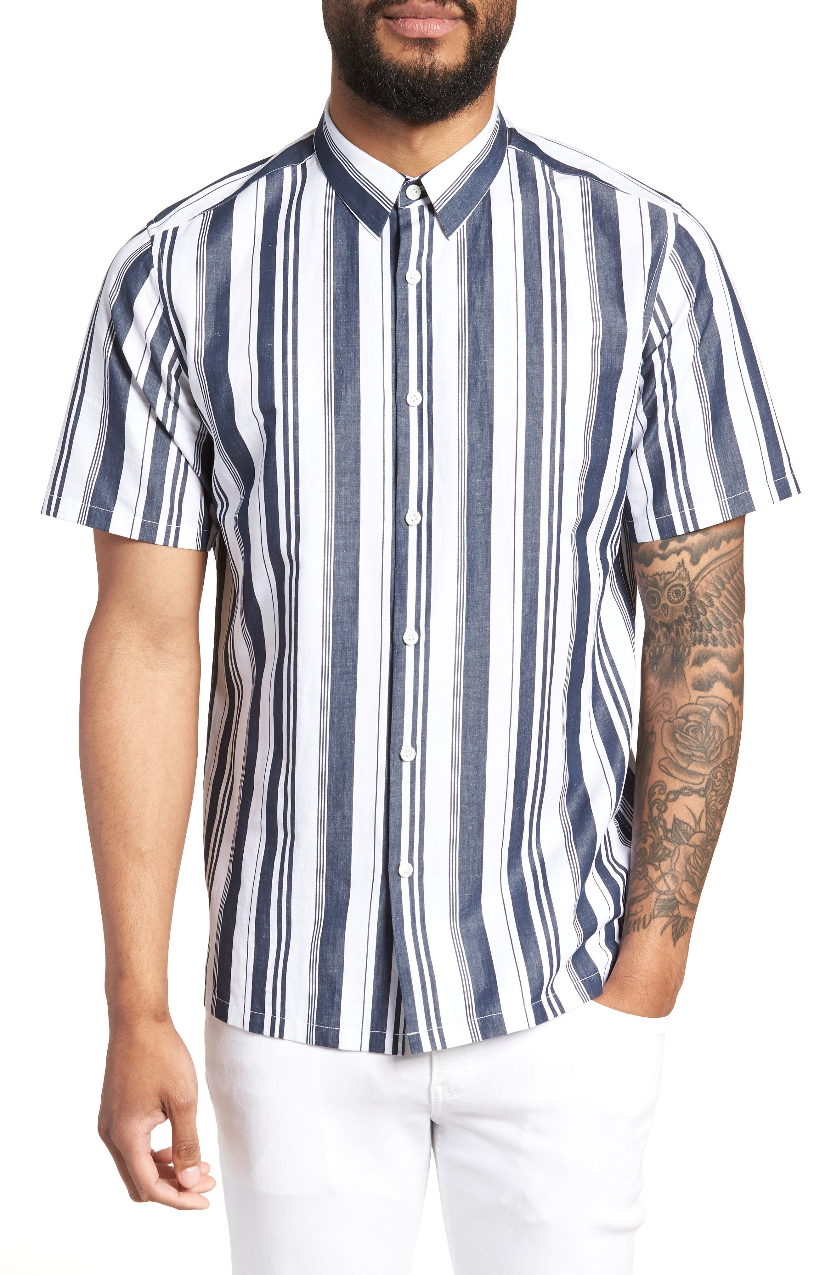 Cheap Sale 2018 New Theory Irving Trim Fit Stripe Cotton & Linen Sport Shirt On Hot Sale Sast For Sale Discount Factory Outlet 0ALfQ3cFT6
