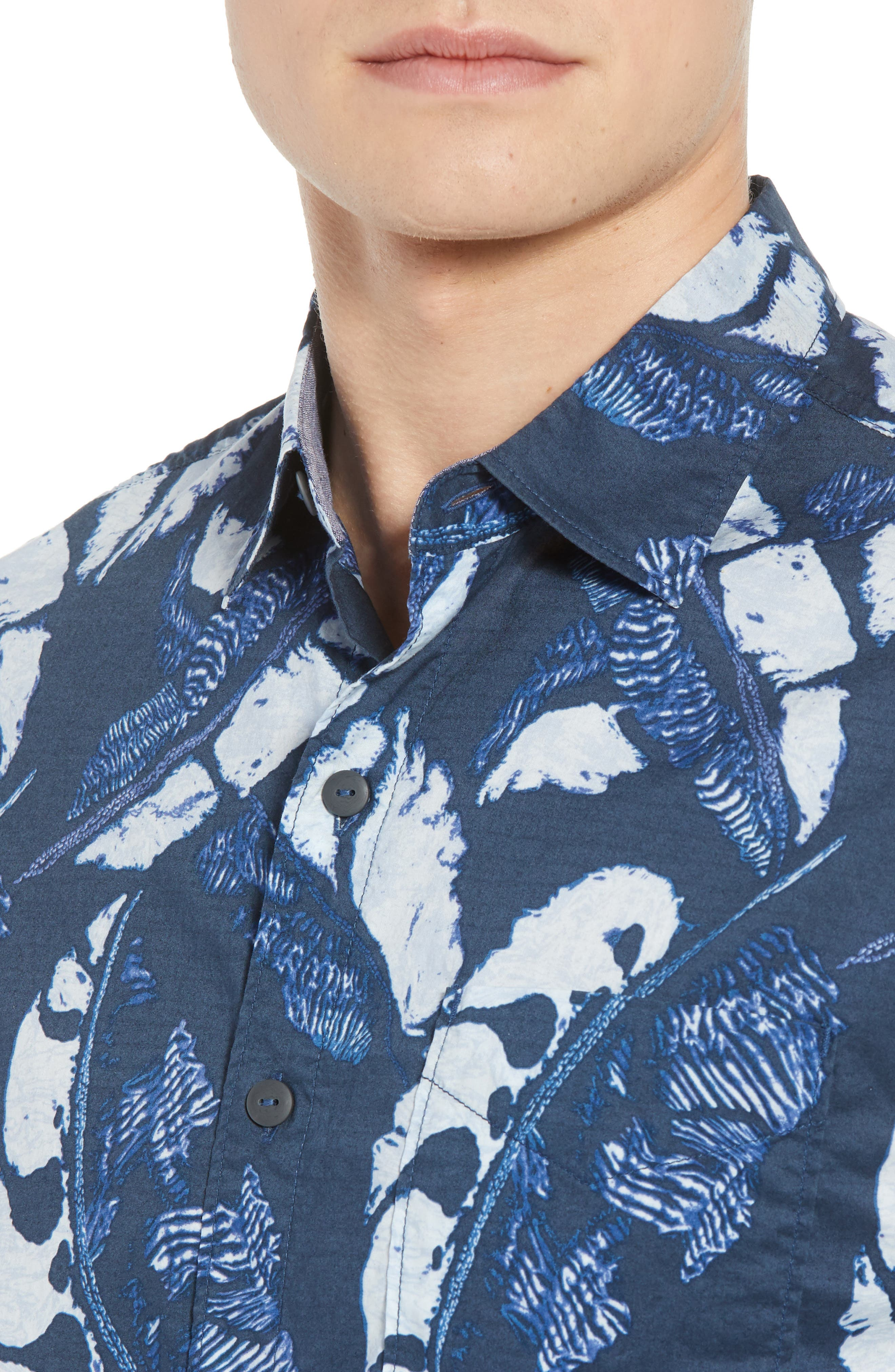 Lunar Leaves Sport Shirt,                             Alternate thumbnail 2, color,                             Ocean Deep