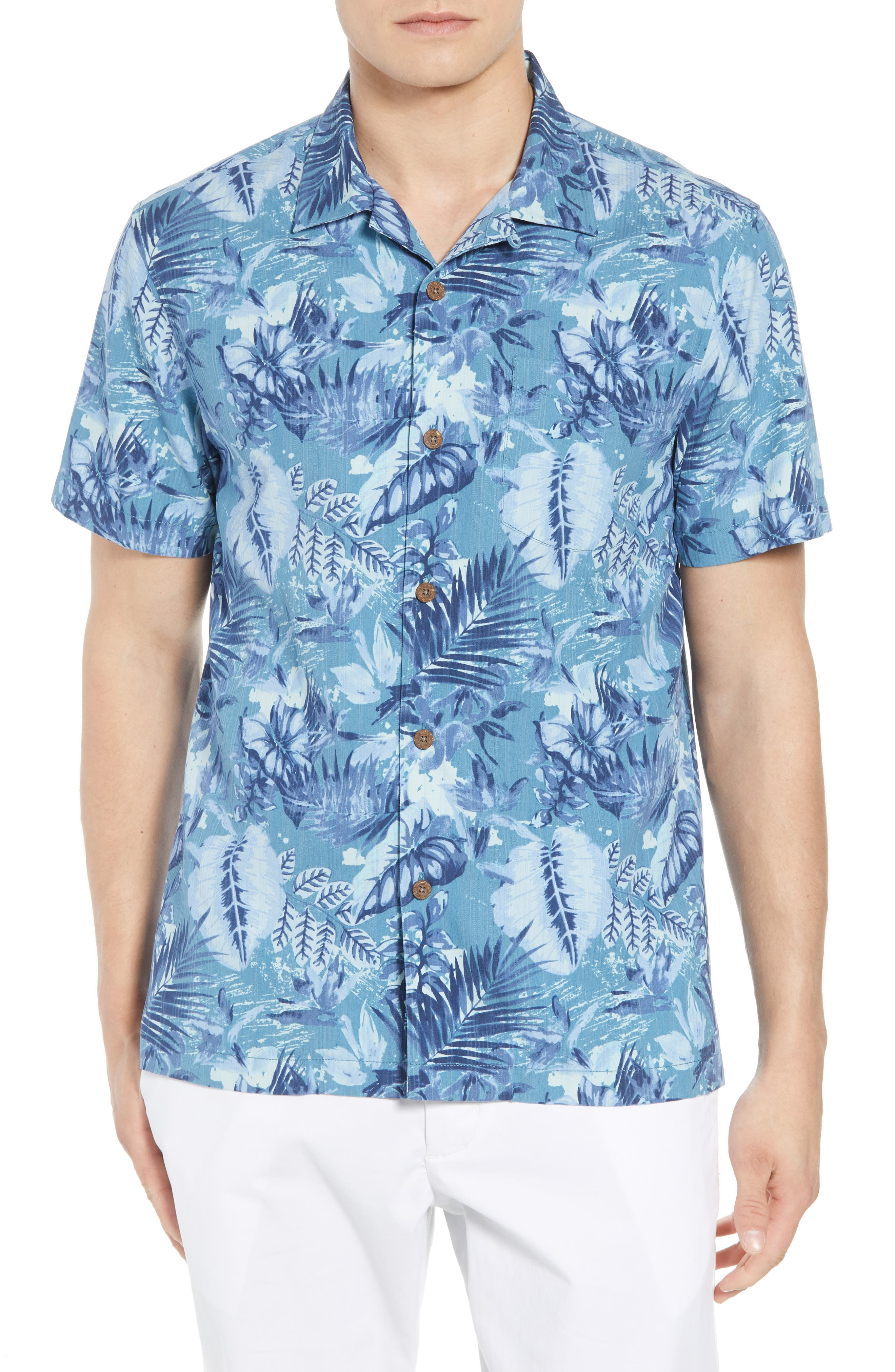 Selva Shores Silk Blend Camp Shirt,                             Main thumbnail 1, color,                             Ocean Deep