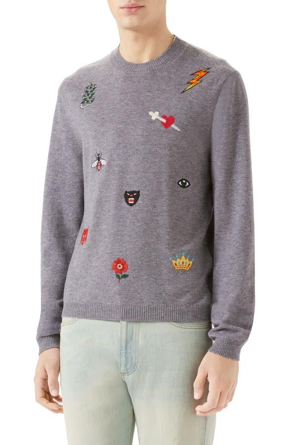 Main Image - Gucci Embroidered Wool Crewneck Sweatshirt