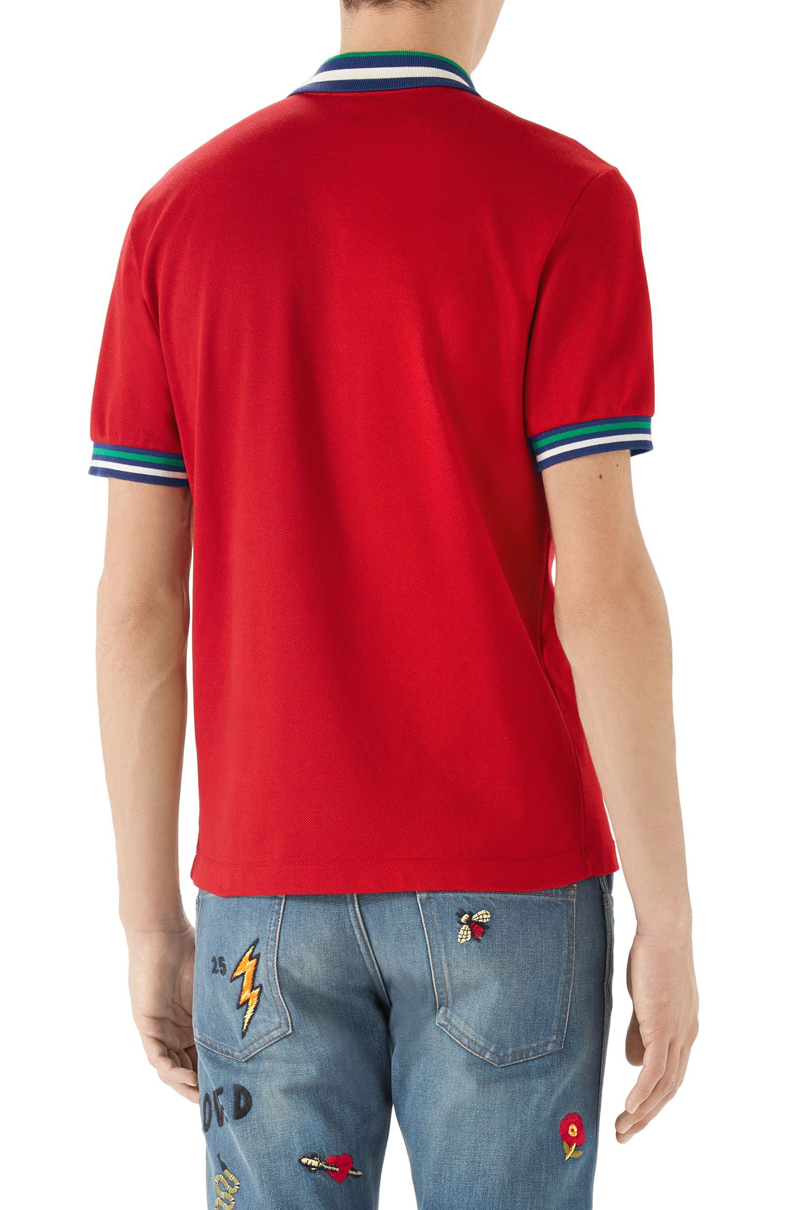 Logo Patch Tipped Piqué Polo,                             Alternate thumbnail 2, color,                             Red