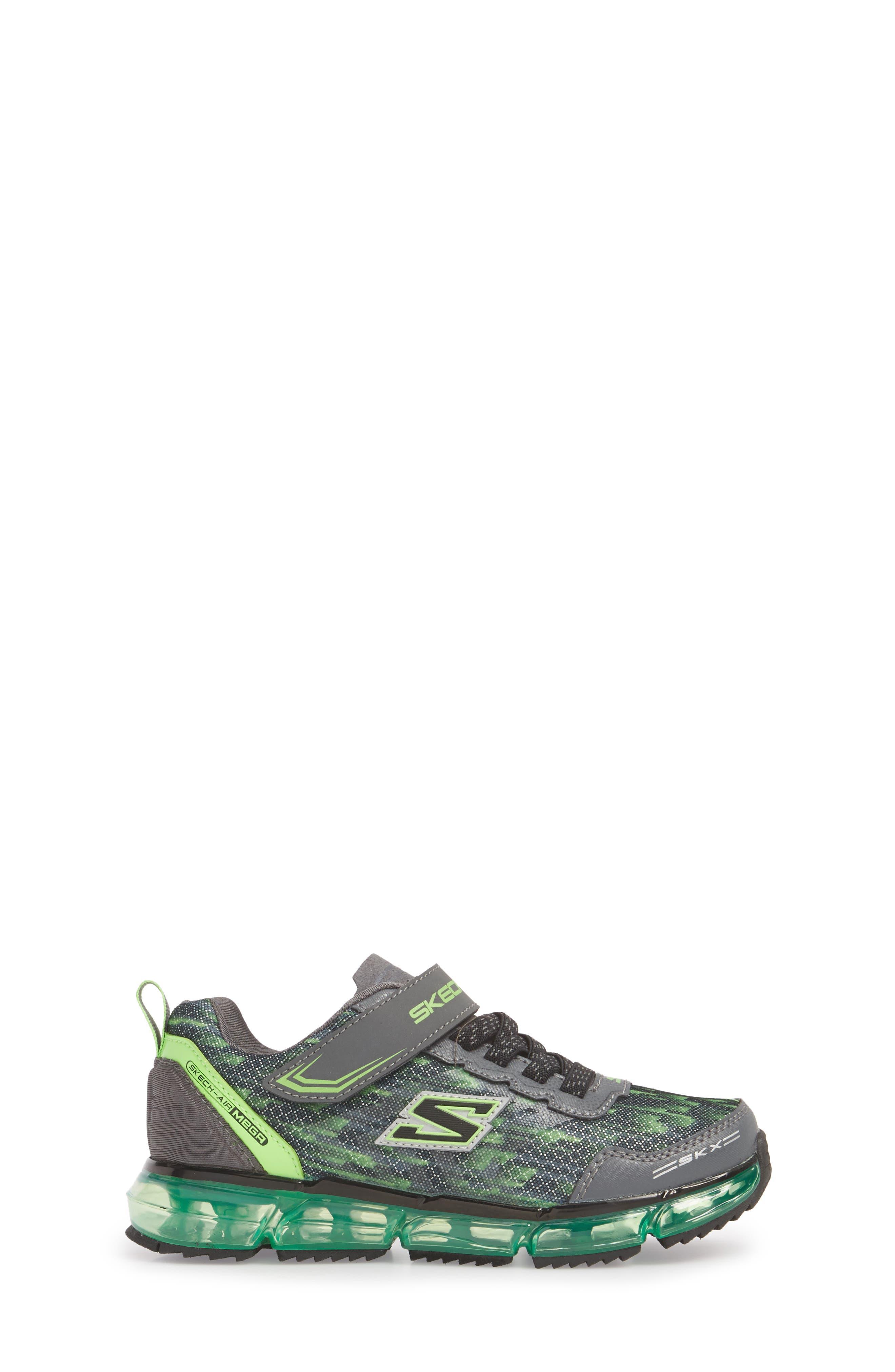 Skech-Air Mega Sneaker,                             Alternate thumbnail 3, color,                             Black/ Charcoal/ Lime
