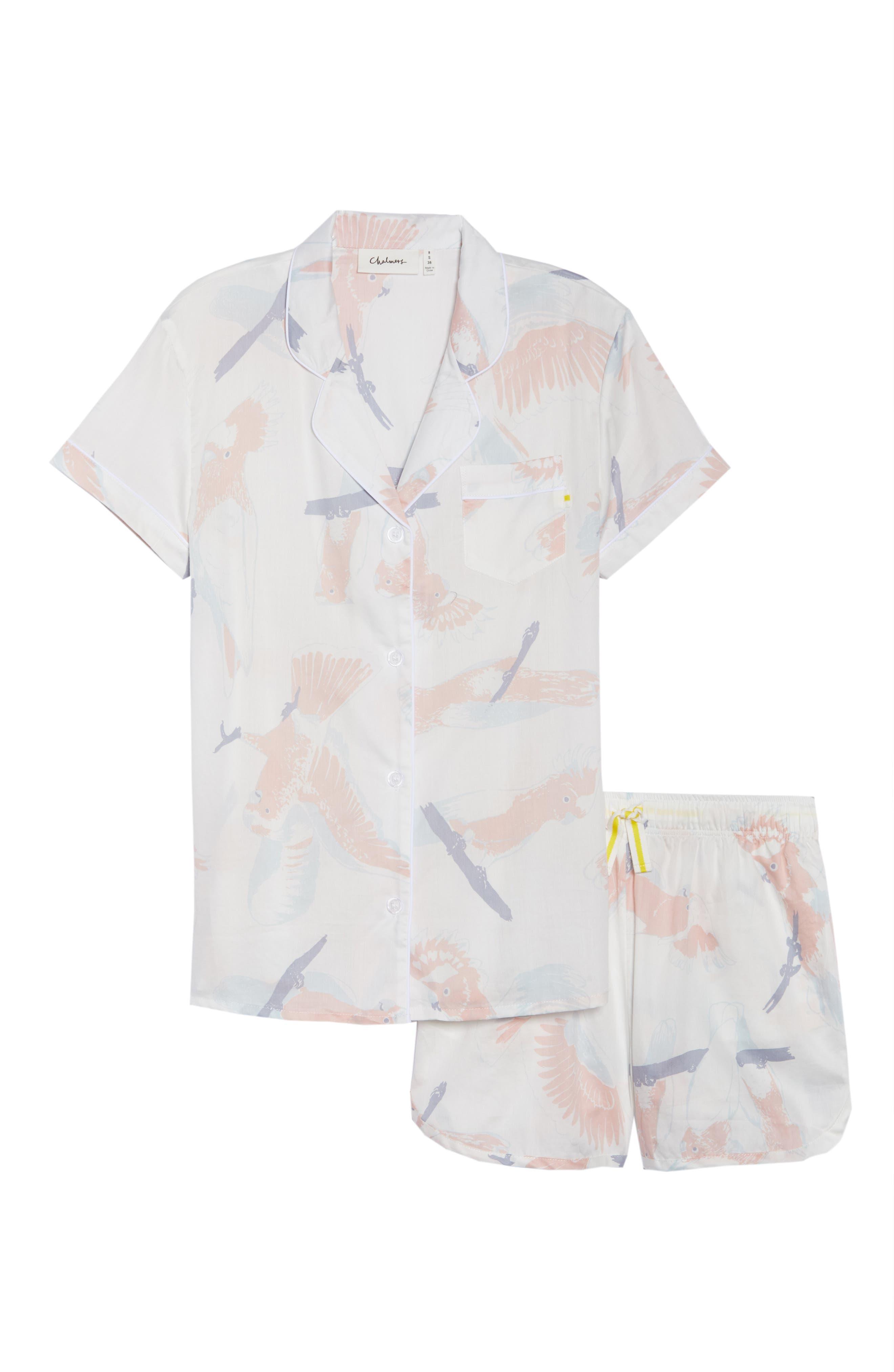 Cockatoos Short Pajamas,                             Alternate thumbnail 4, color,                             Cockatoos White
