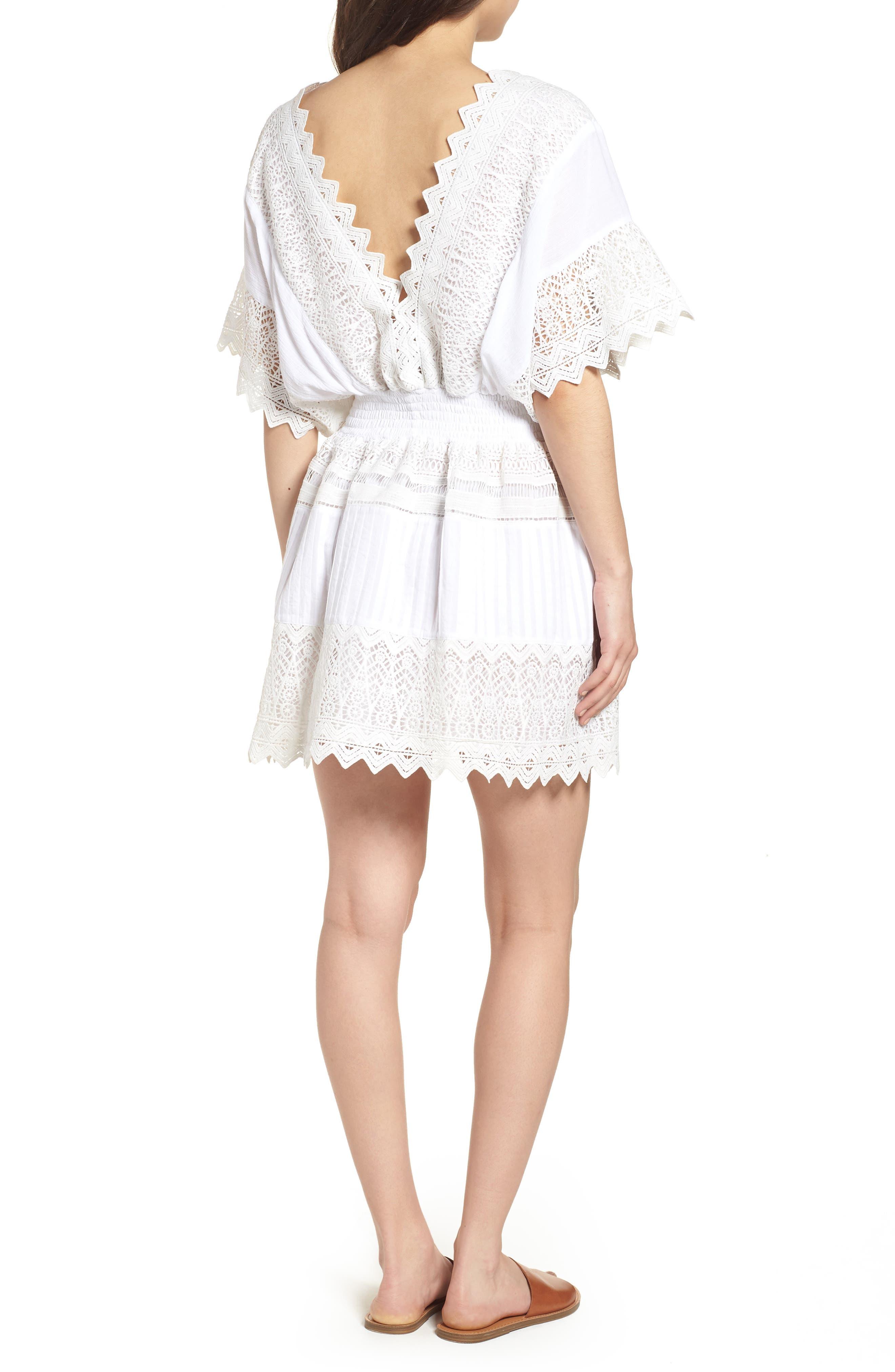 Rosa Lace Minidress,                             Alternate thumbnail 2, color,                             White