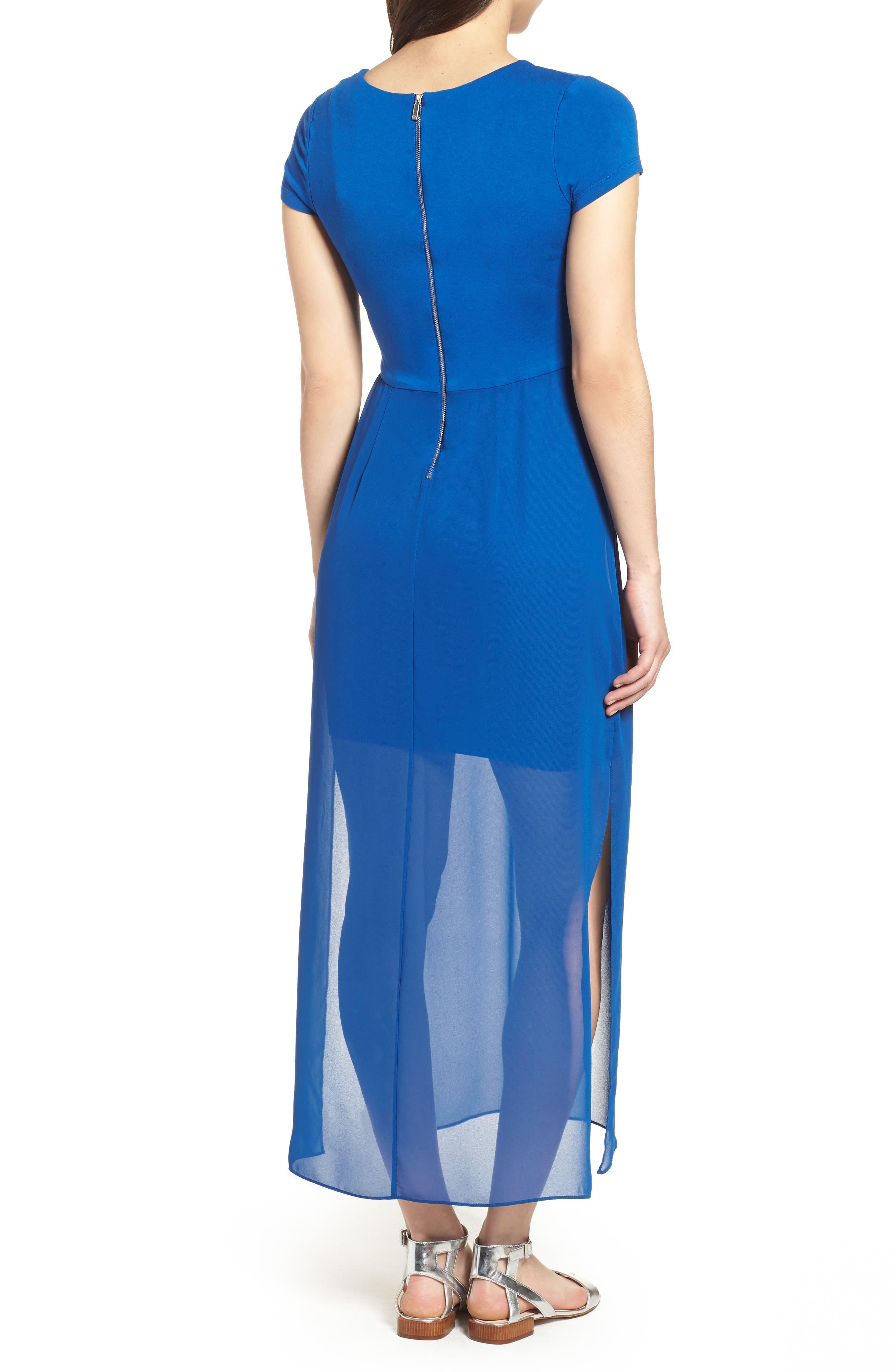 Chiffon Overlay Maxi Dress,                             Alternate thumbnail 2, color,                             Amalfi Blue