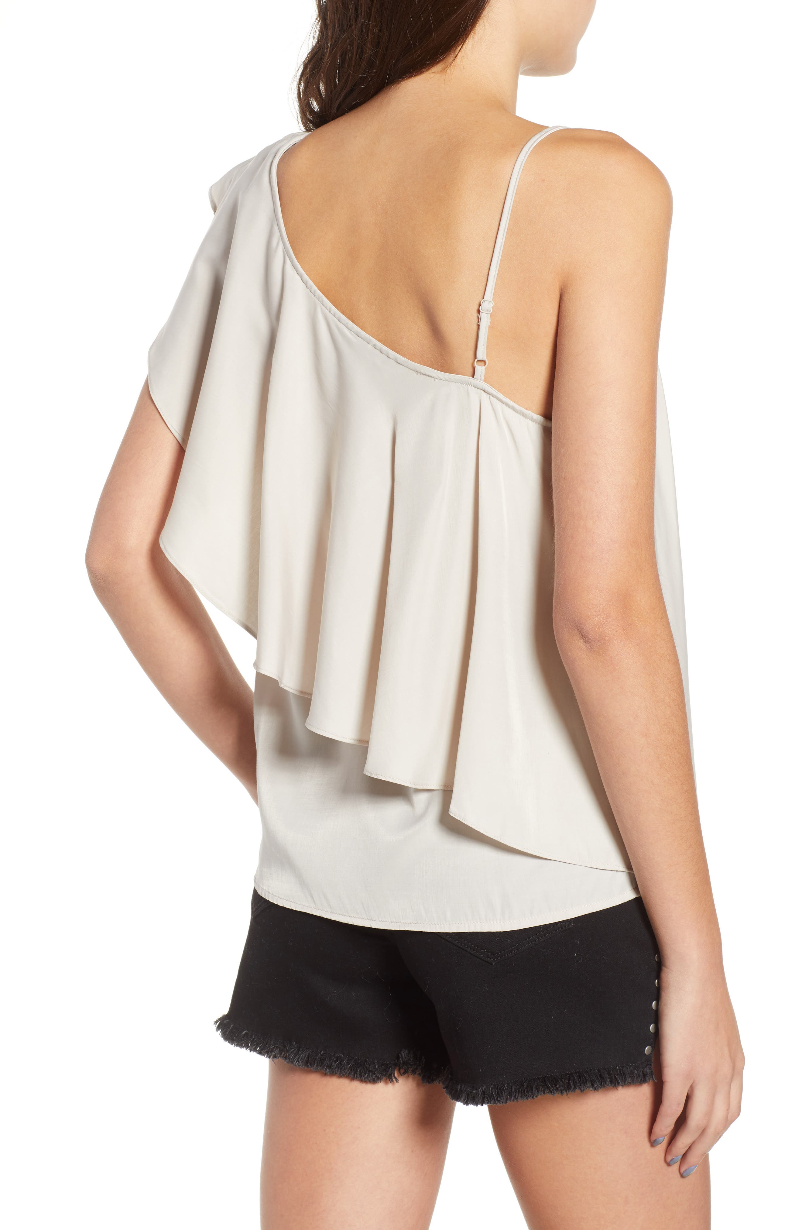 Hangin Ruff One-Shoulder Top,                             Alternate thumbnail 2, color,                             Light Grey
