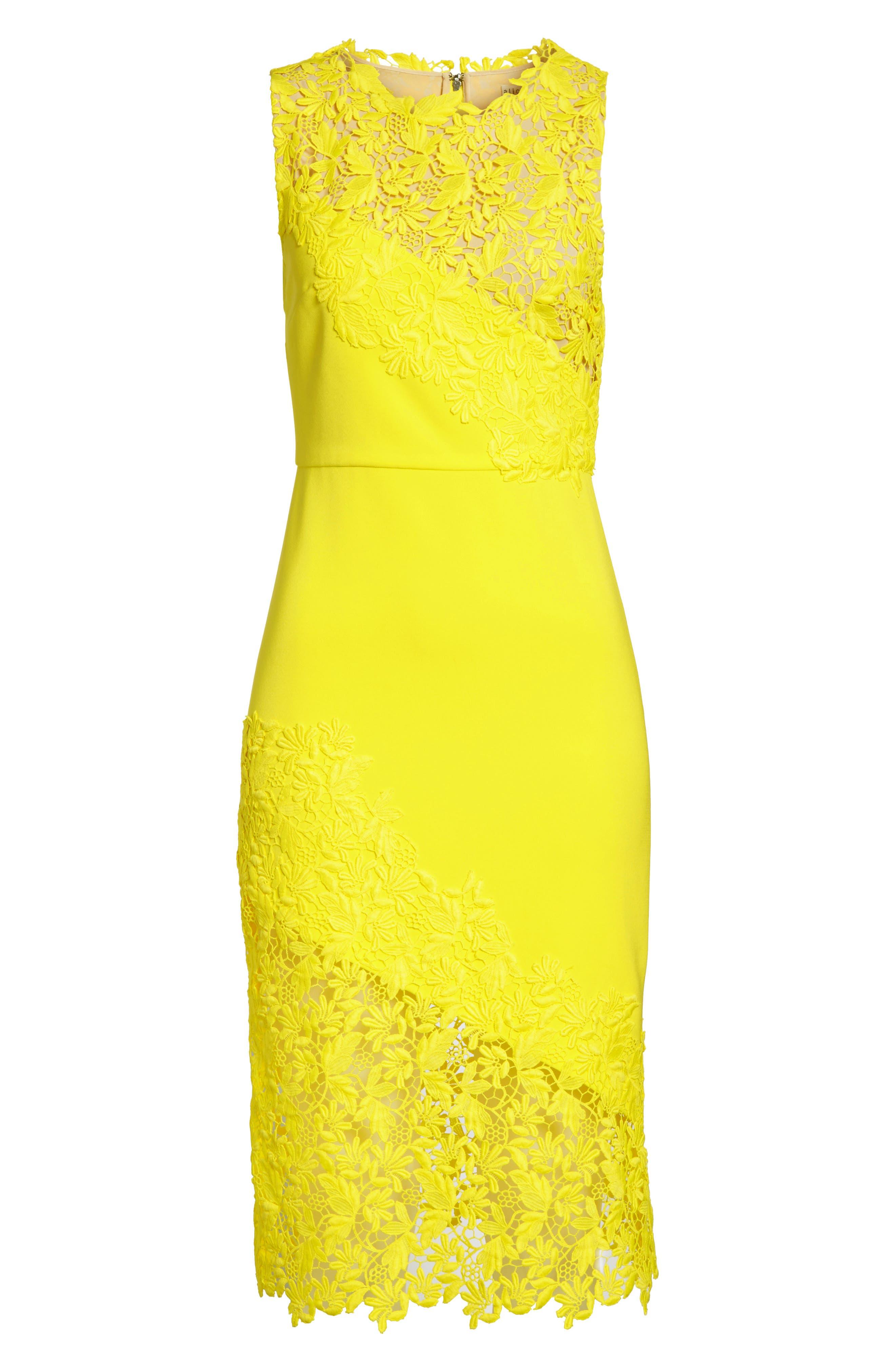 Margy Lace Overlay Body-Con Dress,                             Alternate thumbnail 6, color,                             Lemon