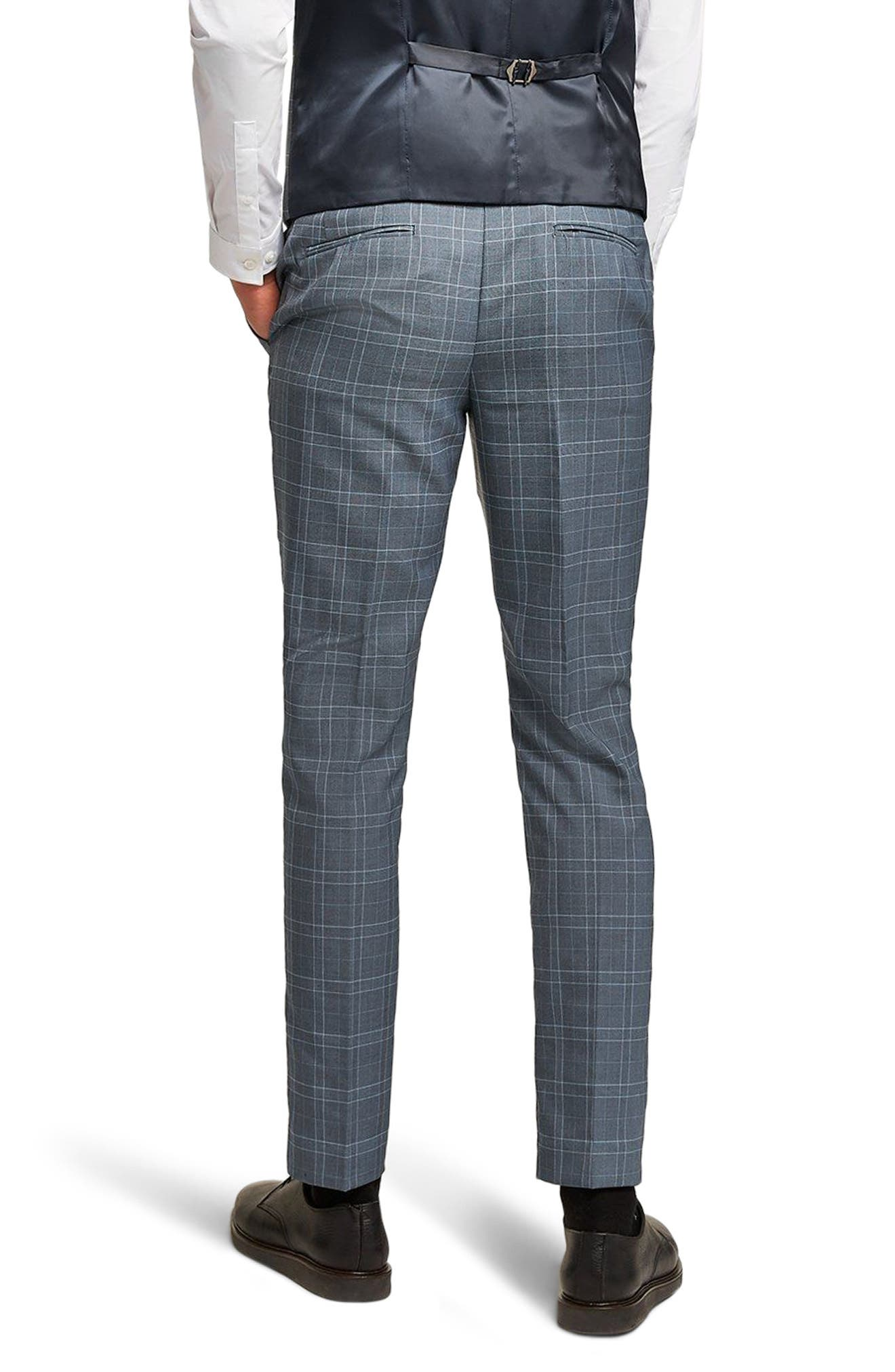 Check Skinny Fit Suit Trousers,                             Alternate thumbnail 2, color,                             Blue Multi