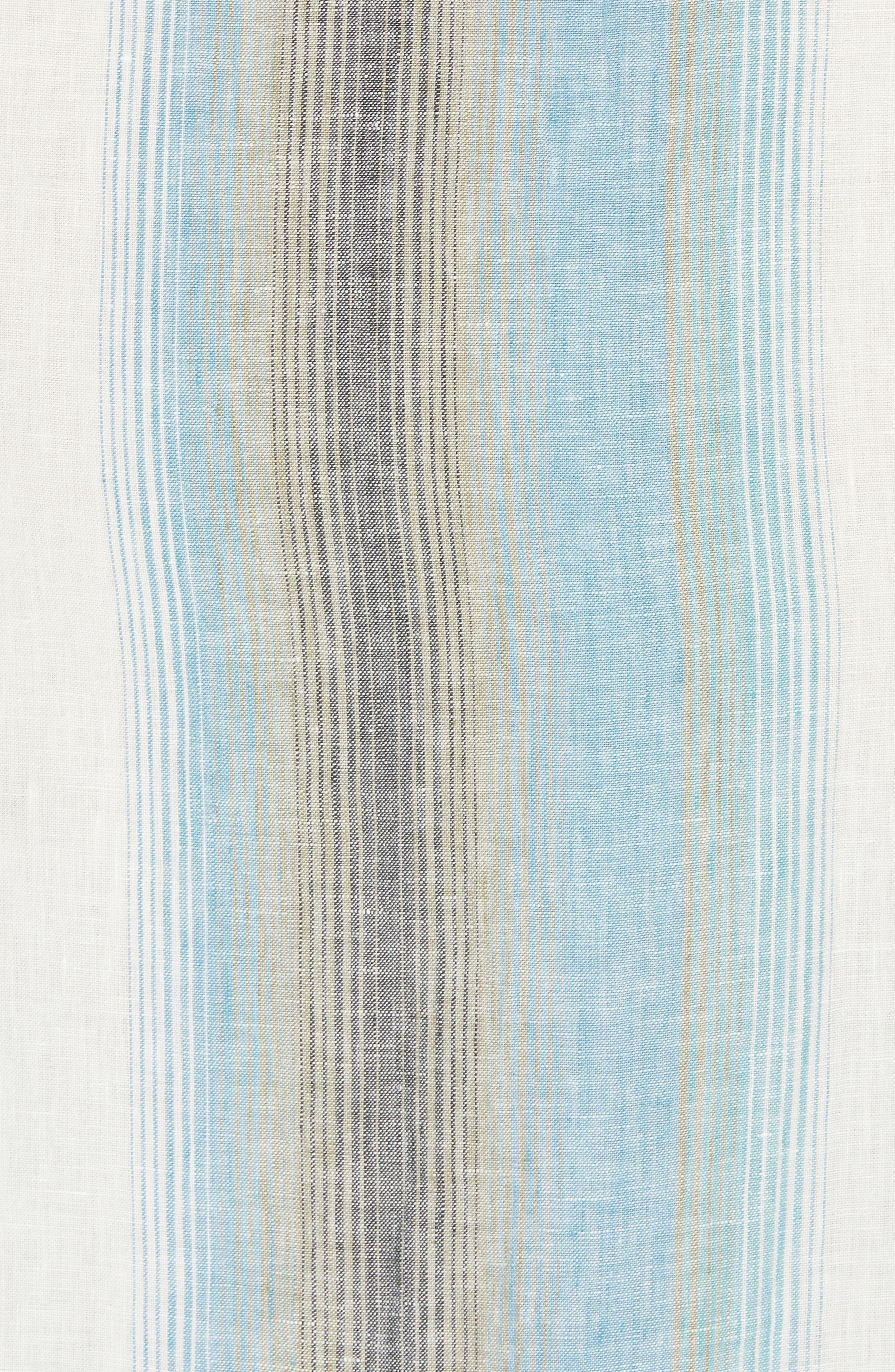 Sanchez Stripe Linen Sport Shirt,                             Alternate thumbnail 4, color,                             Voyager Blue