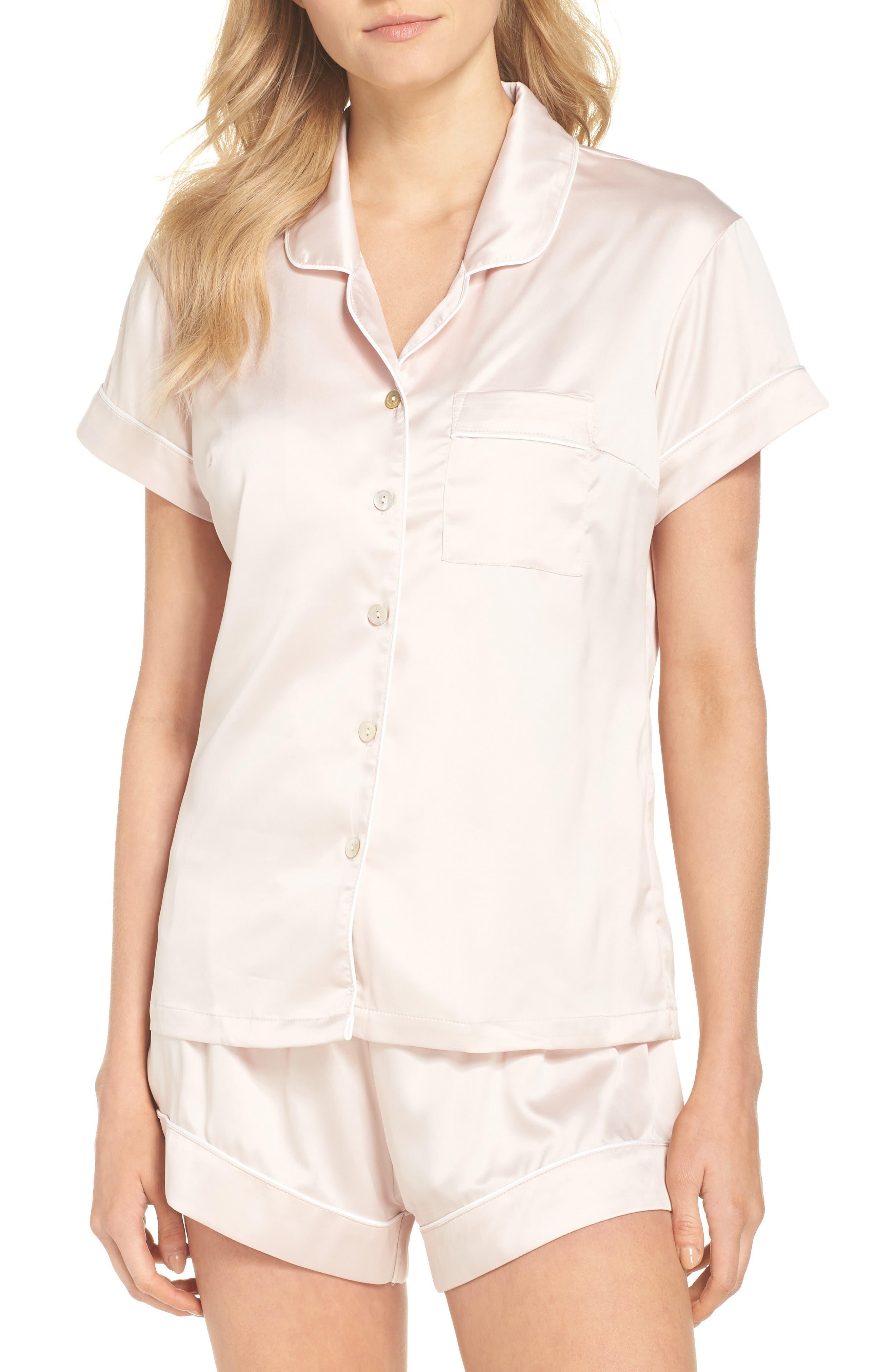 Piped Short Pajamas,                             Main thumbnail 1, color,                             Pink